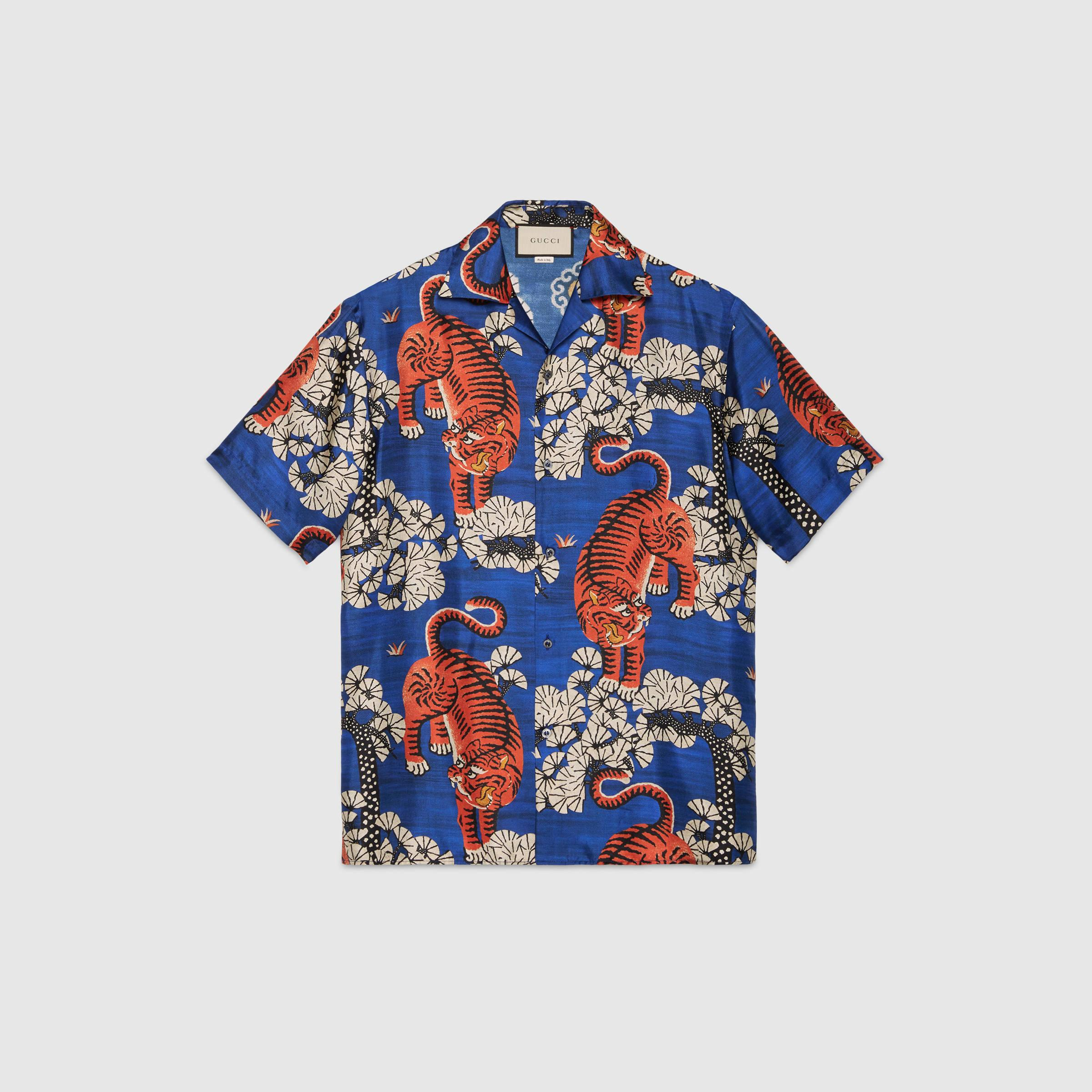 Gucci camp collar printed silk twill shirt in blue for men for Gucci t shirts online india