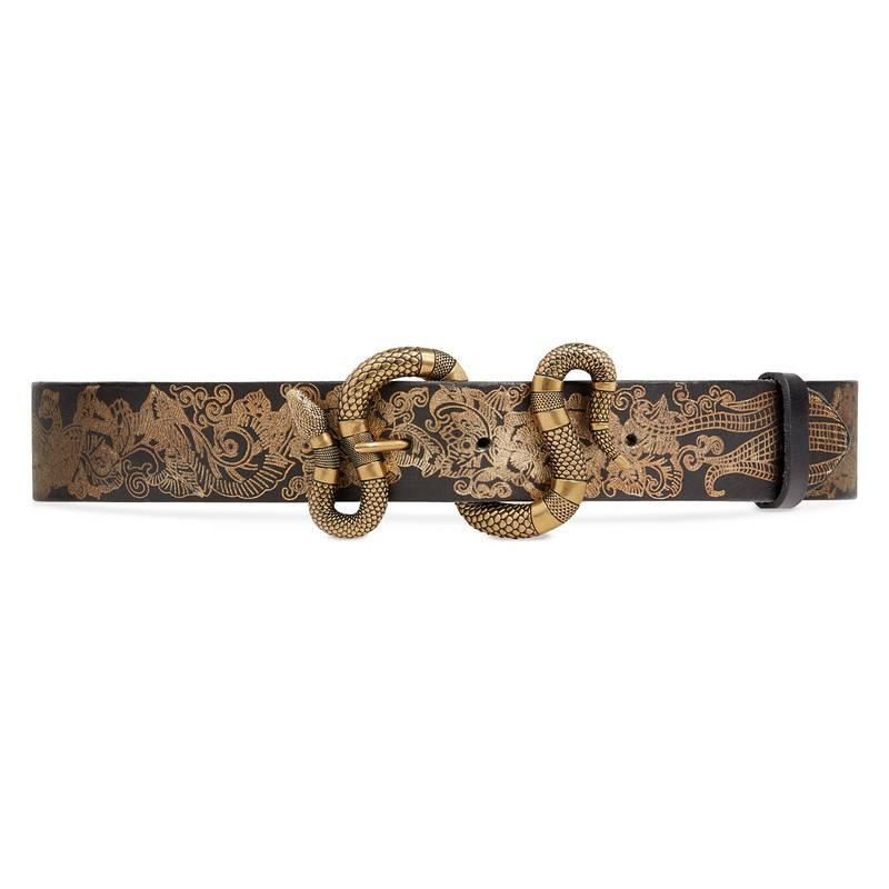 f2d7b792ad3 Gucci Printed Leather Belt With Snake Buckle in Black
