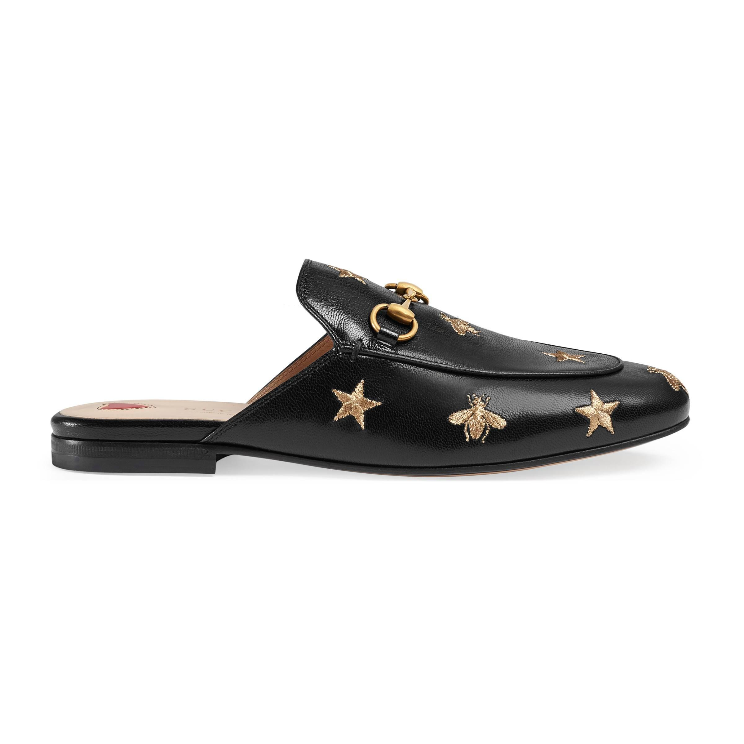 63df5e1e5b8 Gucci 10mm Princetown Embroidered Leather Mule in Black - Lyst