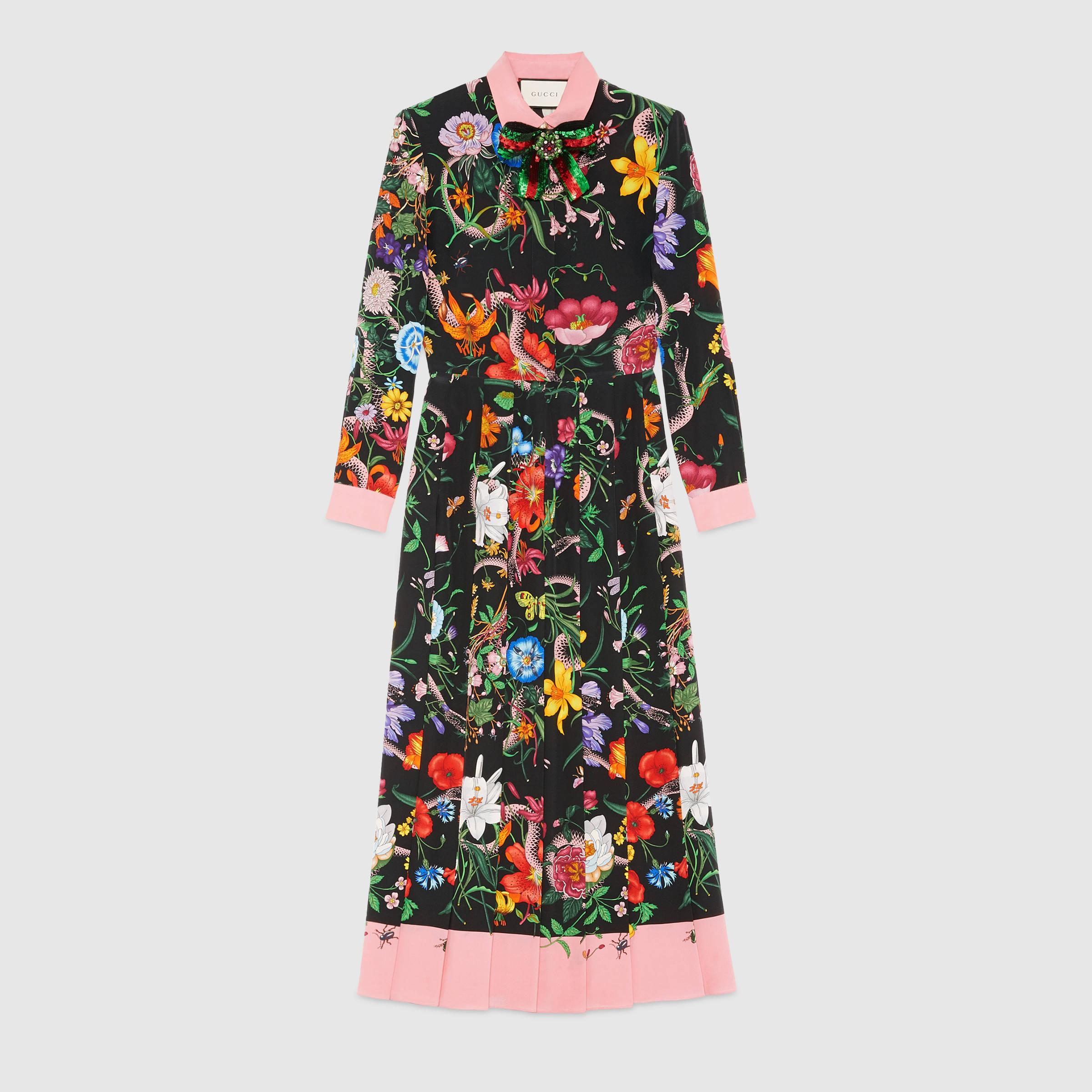 gucci flora snake print silk dress in multicolor  lyst
