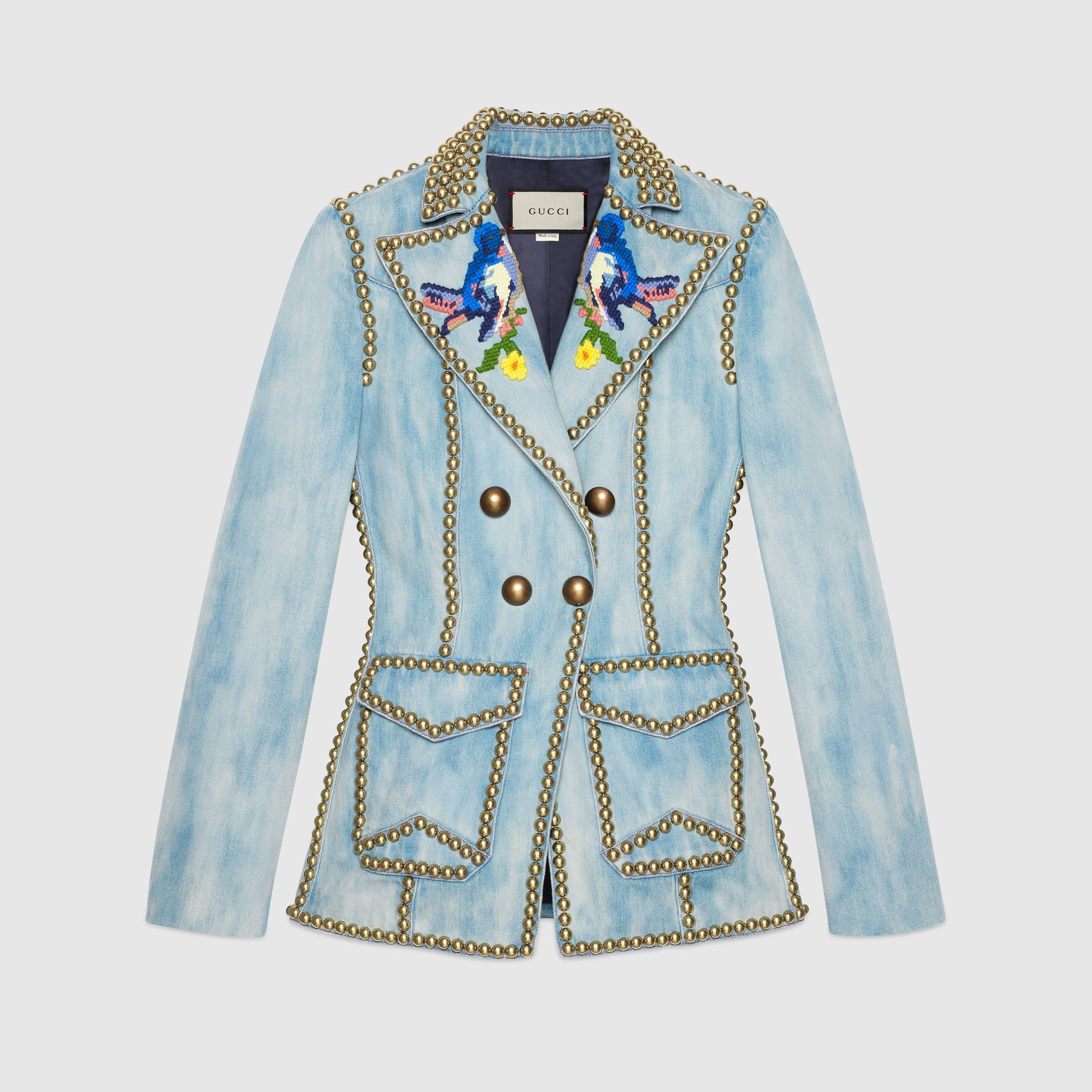 Lyst gucci embroidered denim jacket with studs in blue for Dress shirt studs uk