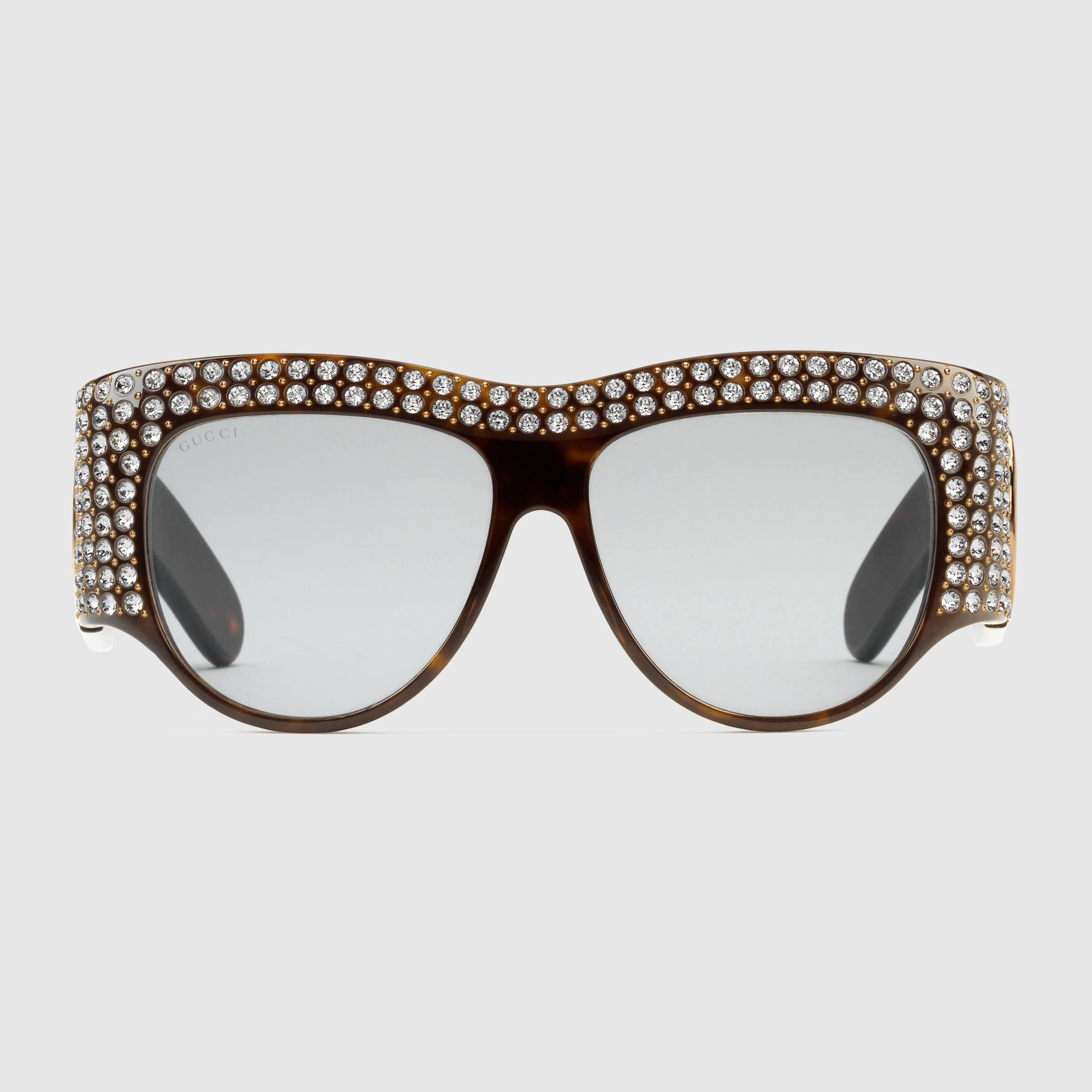 54f7162394c Lyst - Gucci Oversize Acetate Sunglasses With Crystals