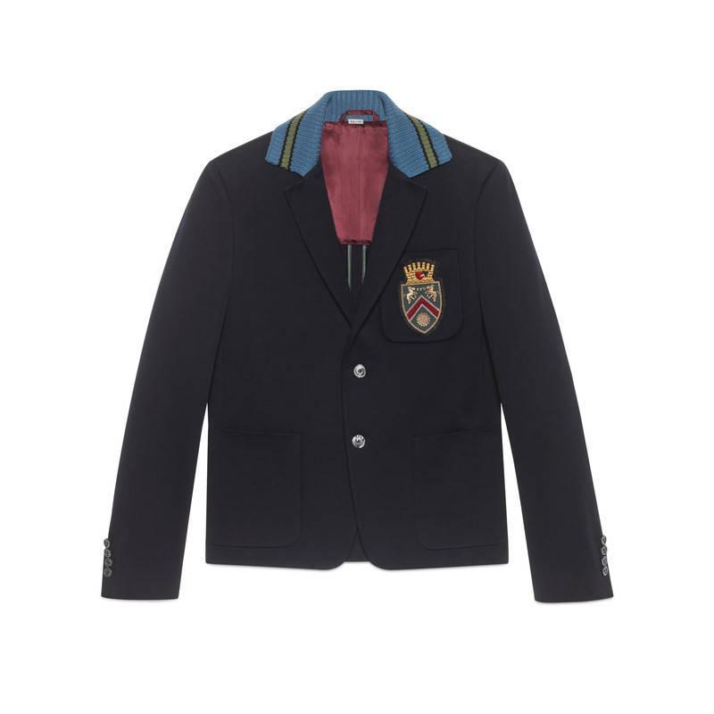 gucci cambridge cotton jacket with crest in blue for men lyst. Black Bedroom Furniture Sets. Home Design Ideas