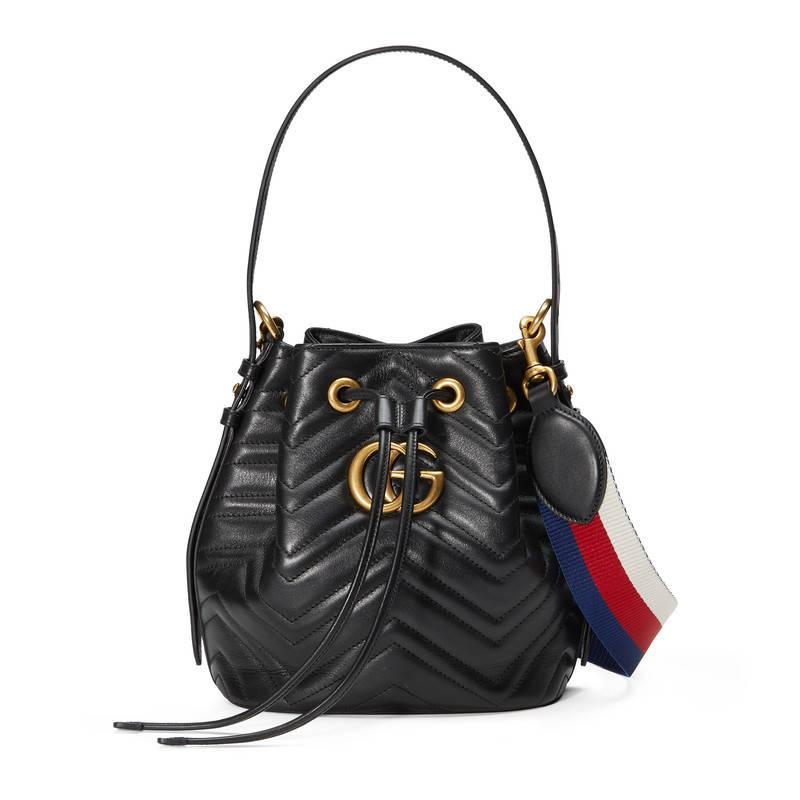 Gucci Gg Marmont Quilted Leather Bucket Bag In Black Lyst
