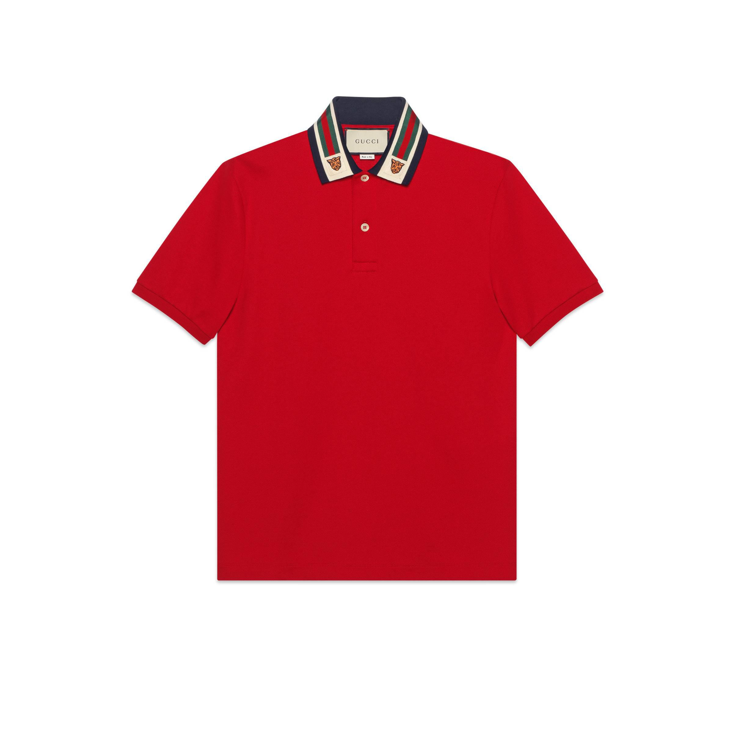 fe5514bbaf7 Gucci Cotton Polo With Web And Feline Head in Red for Men - Save 3 ...