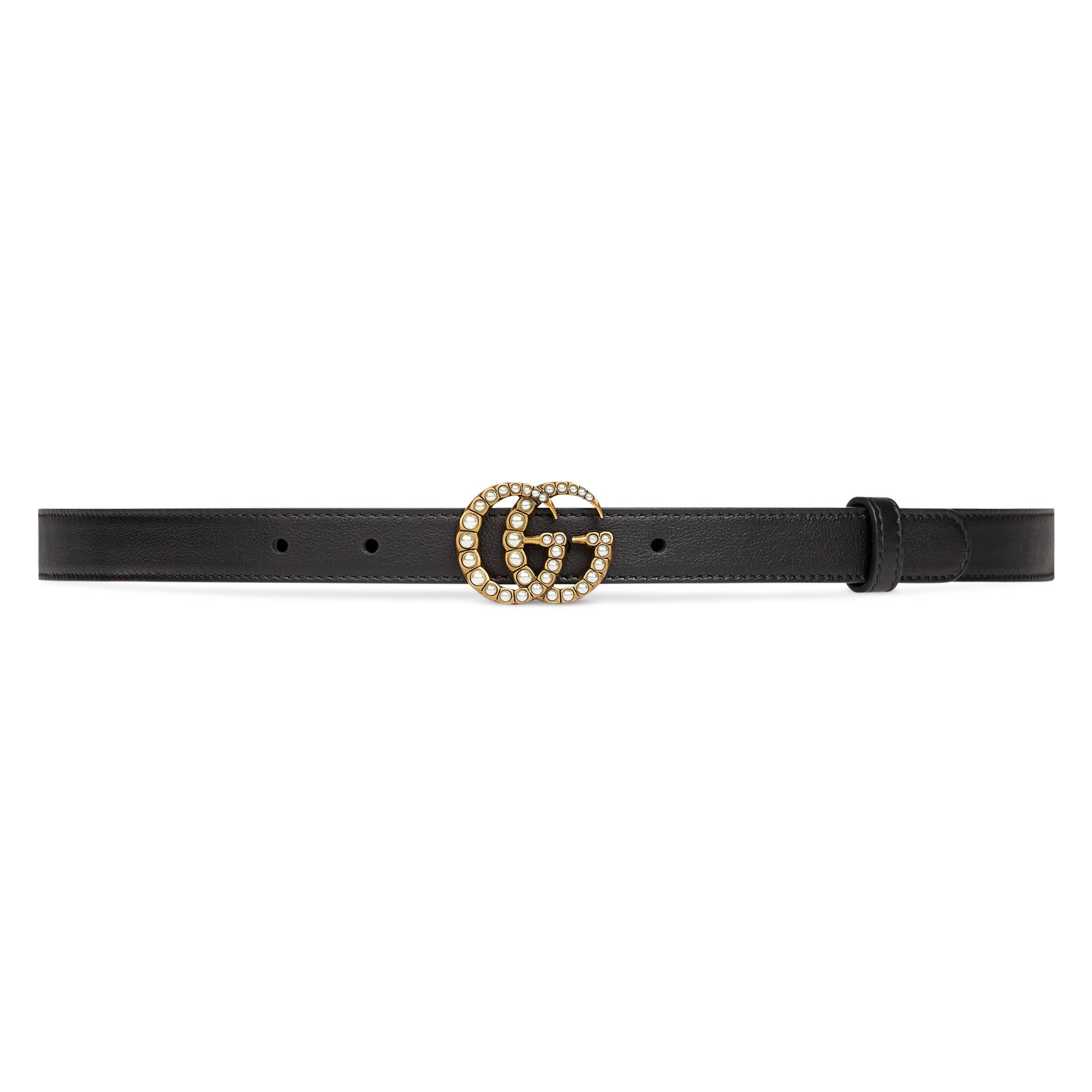 7c92482b68c Gucci Leather Belt With Pearl Double G Buckle in Black - Save 19% - Lyst