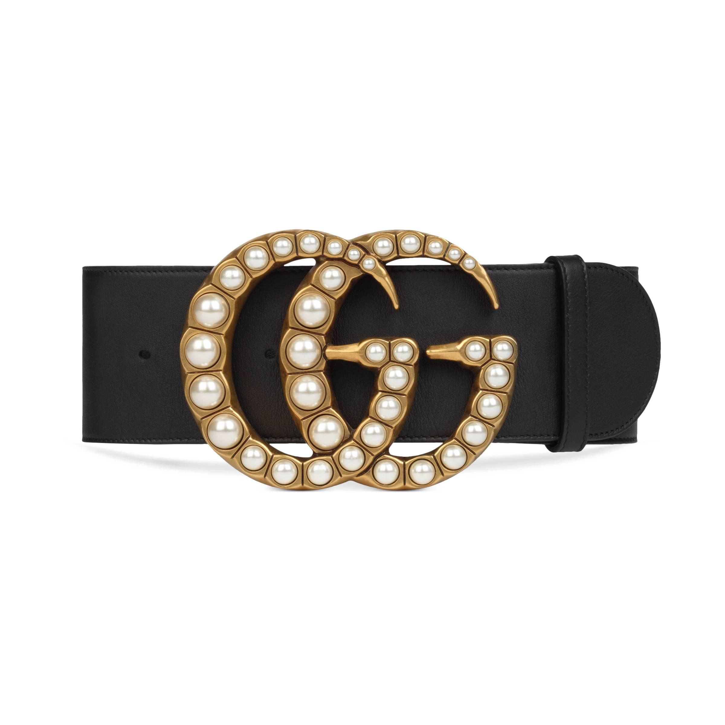 d1f5f25b921 Gucci - Black Wide Leather Belt With Pearl Double G - Lyst. View fullscreen
