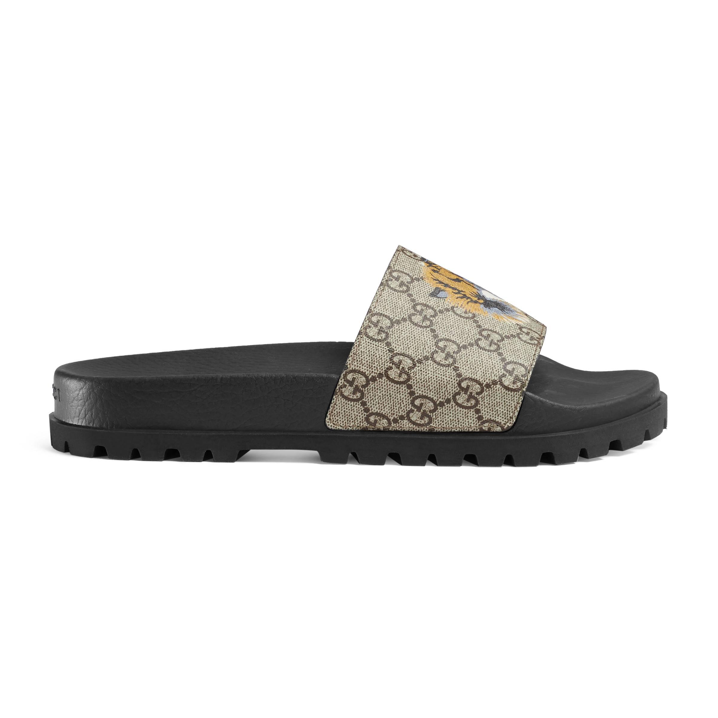 4ab7320a4178 Gucci GG Supreme Slides With Wolf for Men - Lyst