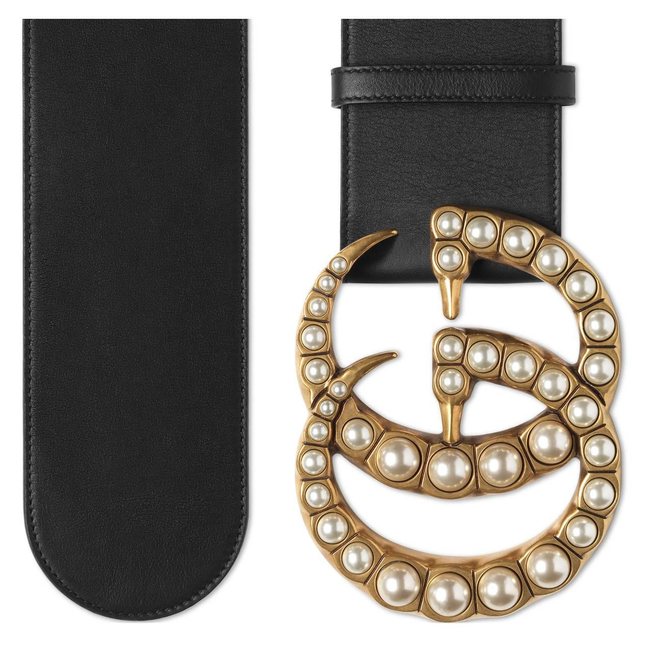 9e5b349e9df Gucci - Black Wide Leather Belt With Pearl Double G - Lyst. View fullscreen