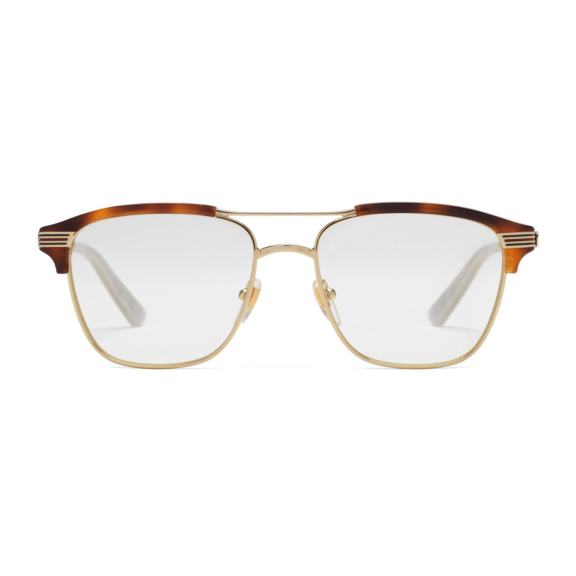 64ba16938ce Gucci Square-frame Metal Glasses in Brown for Men - Lyst
