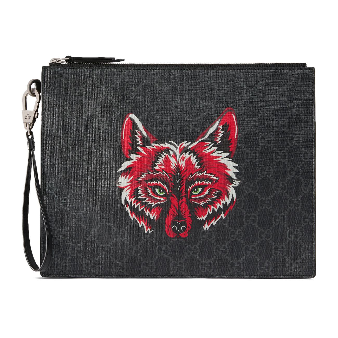cc991f52284f9f Gucci GG Supreme Pouch With Wolf in Black for Men - Lyst