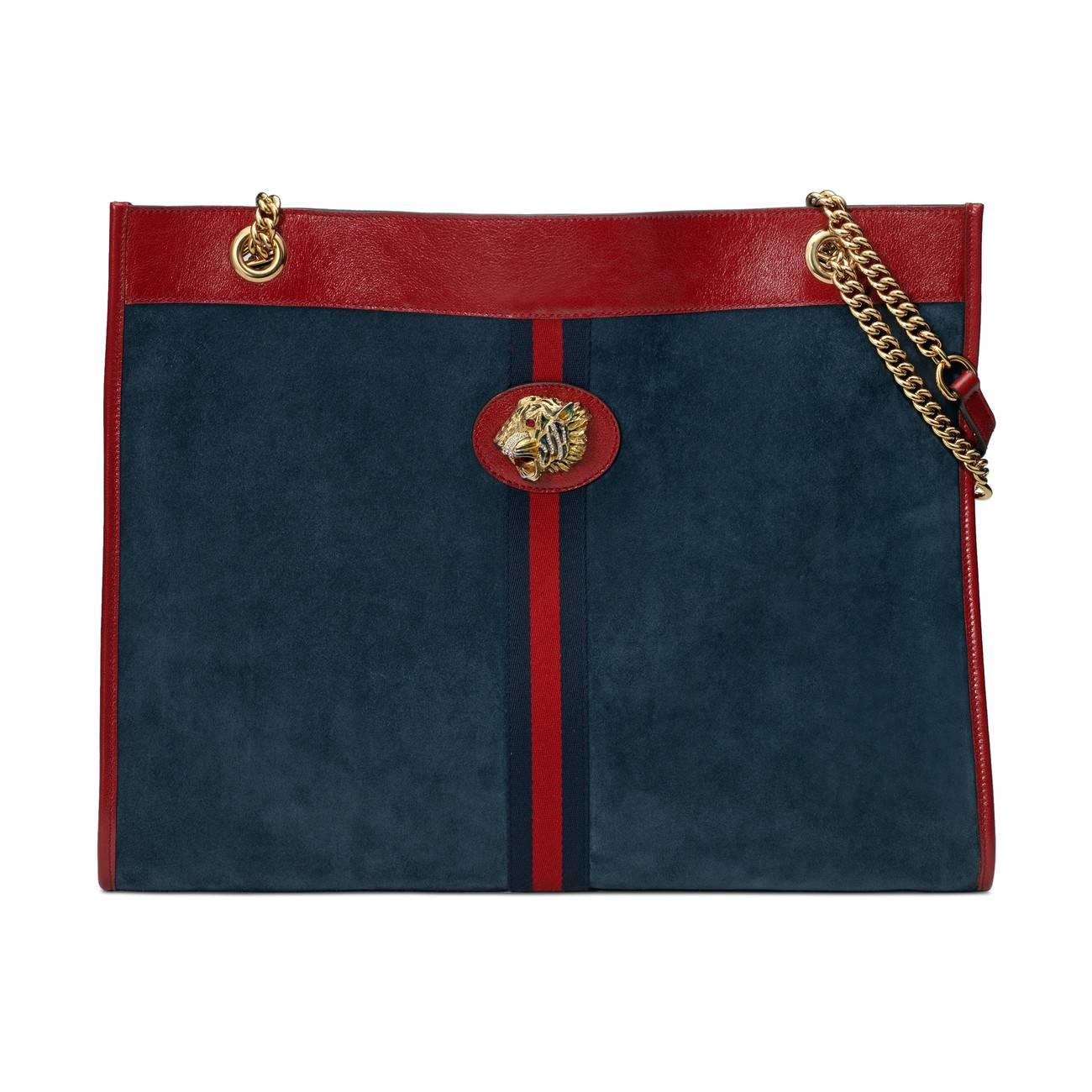 bd8a4b17905 Lyst - Gucci Rajah Large Tote in Blue