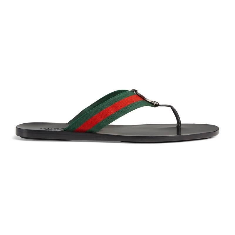 a7150dd084e Lyst - Gucci Web Strap Thong Sandal in Green for Men