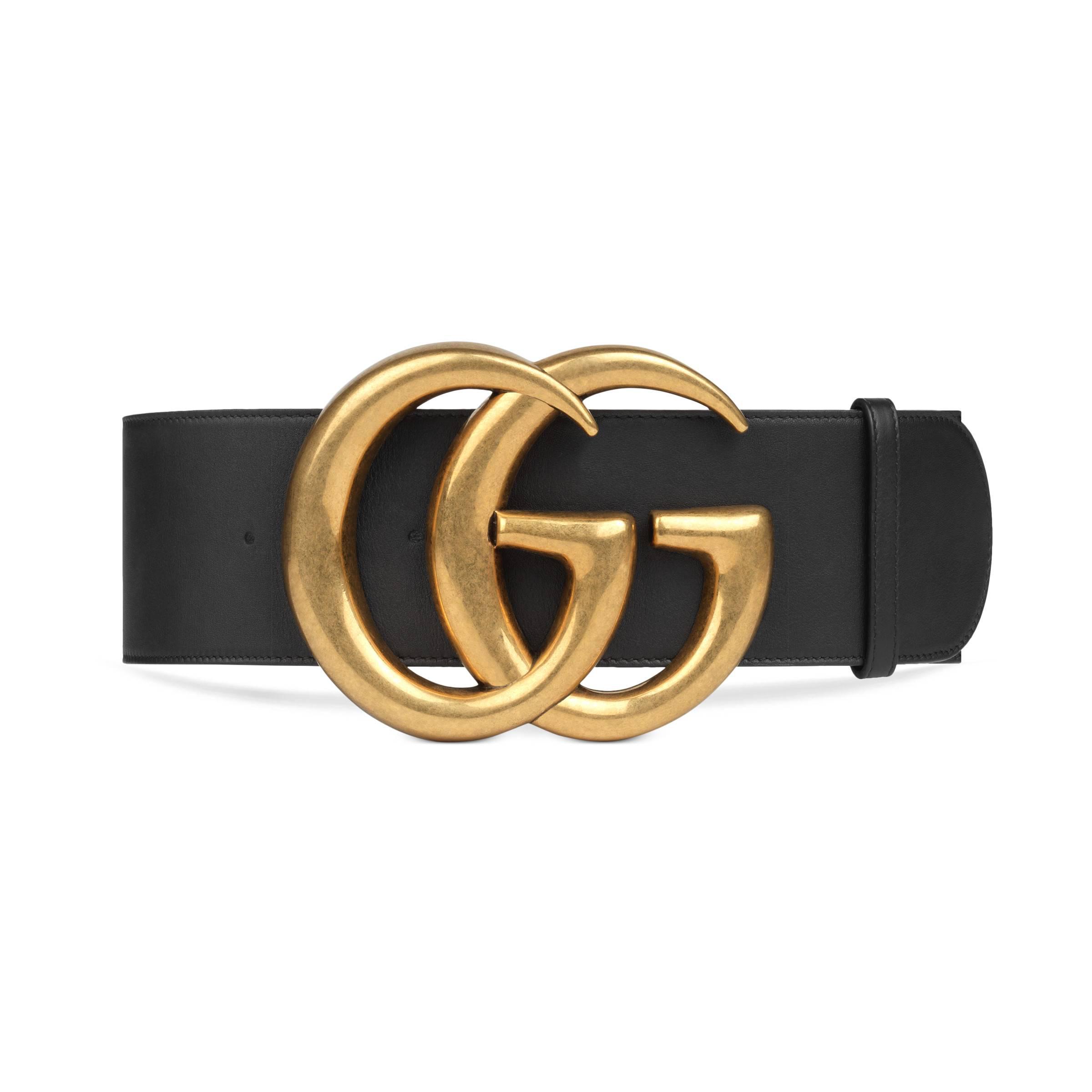 10eff478a6e Lyst - Large ceinture en cuir avec boucle Double G Gucci en coloris Noir