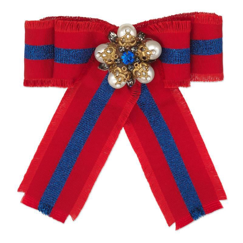Gucci Web grosgrain bow brooch 30vCSN