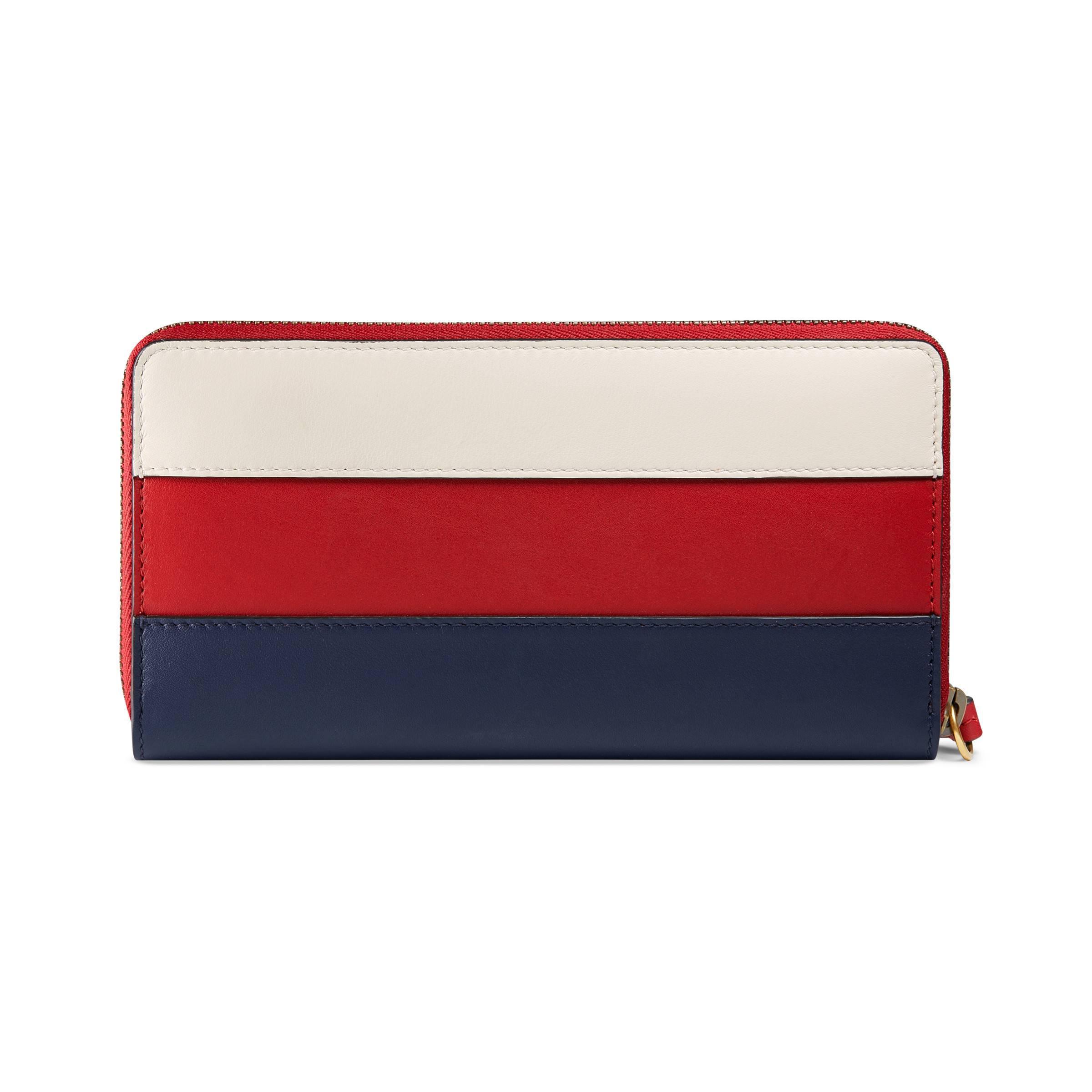 33f1fca48cdd Gucci Queen Margaret Leather Zip Around Wallet in Red - Lyst