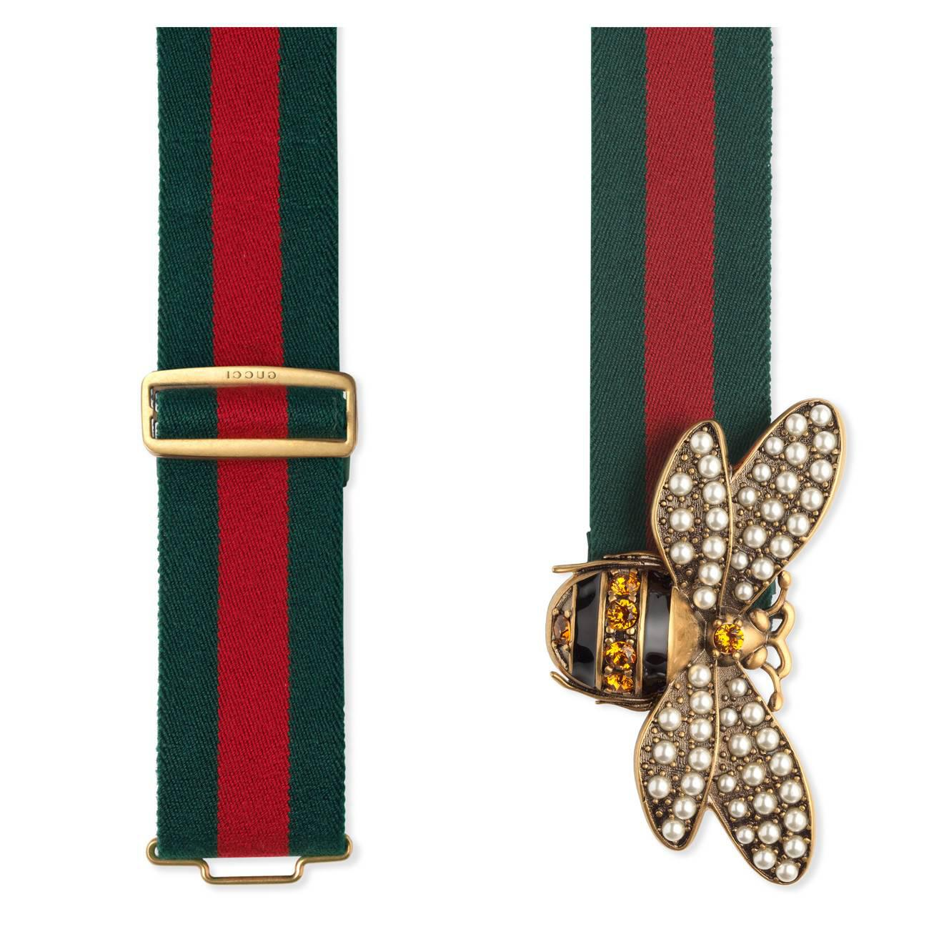 0e8f118354f Gucci Web Belt With Bee in Yellow - Lyst