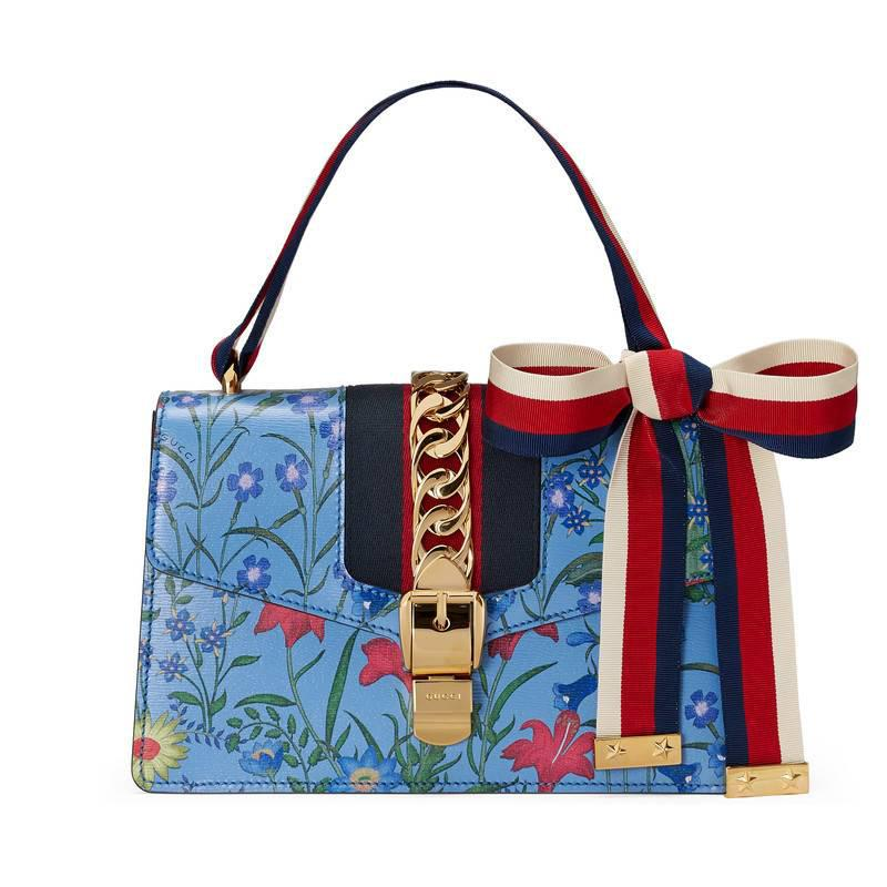 2bf889ef565 Lyst - Gucci Sylvie New Flora Leather Shoulder Bag in Blue