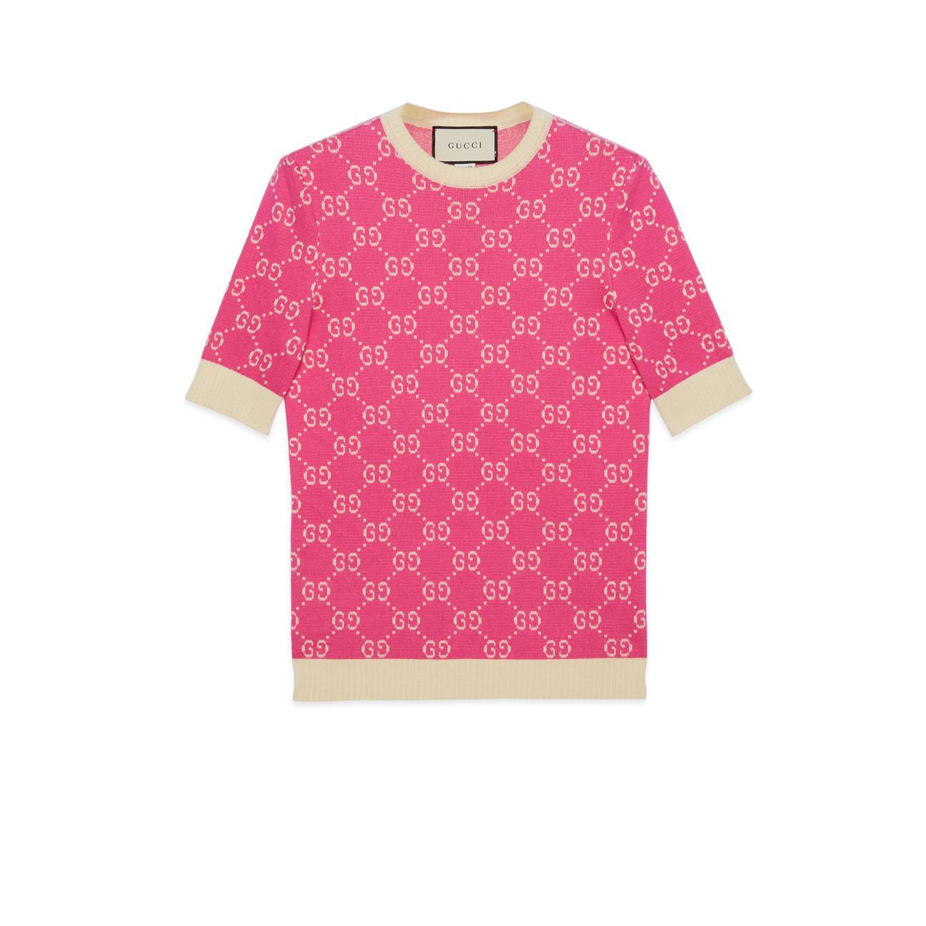 96ad516ac0a Gucci - Pink GG Jacquard Cotton Top - Lyst. View fullscreen