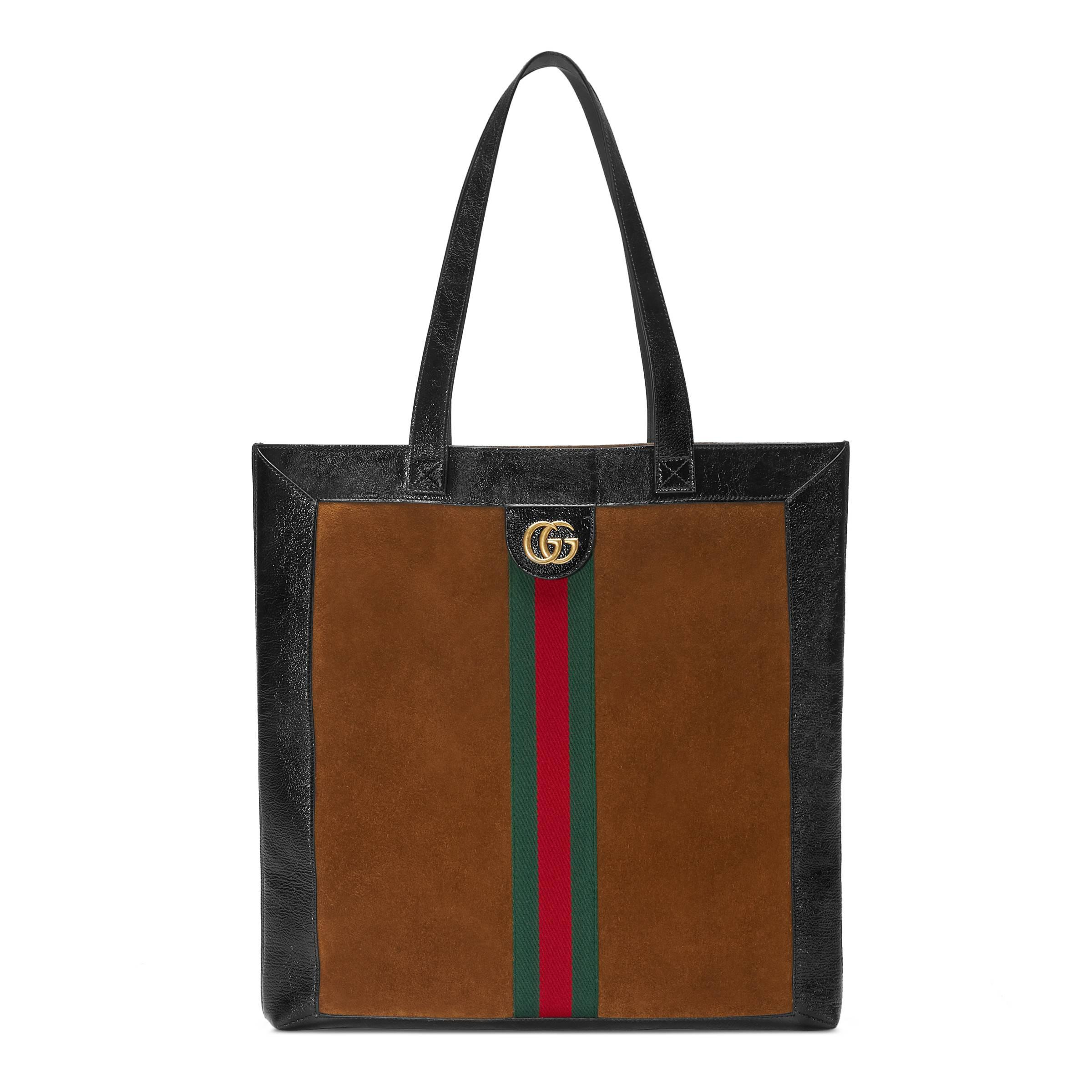 7aab0c384773 Gucci Ophidia Suede Large Tote in Brown - Save 24% - Lyst