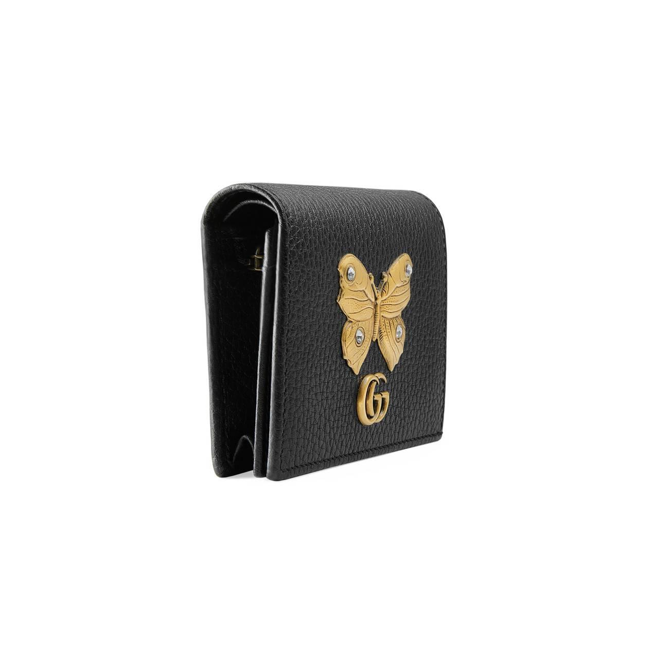 Gucci - Black Leather Card Case With Butterfly - Lyst. View fullscreen 03fd399c8d5