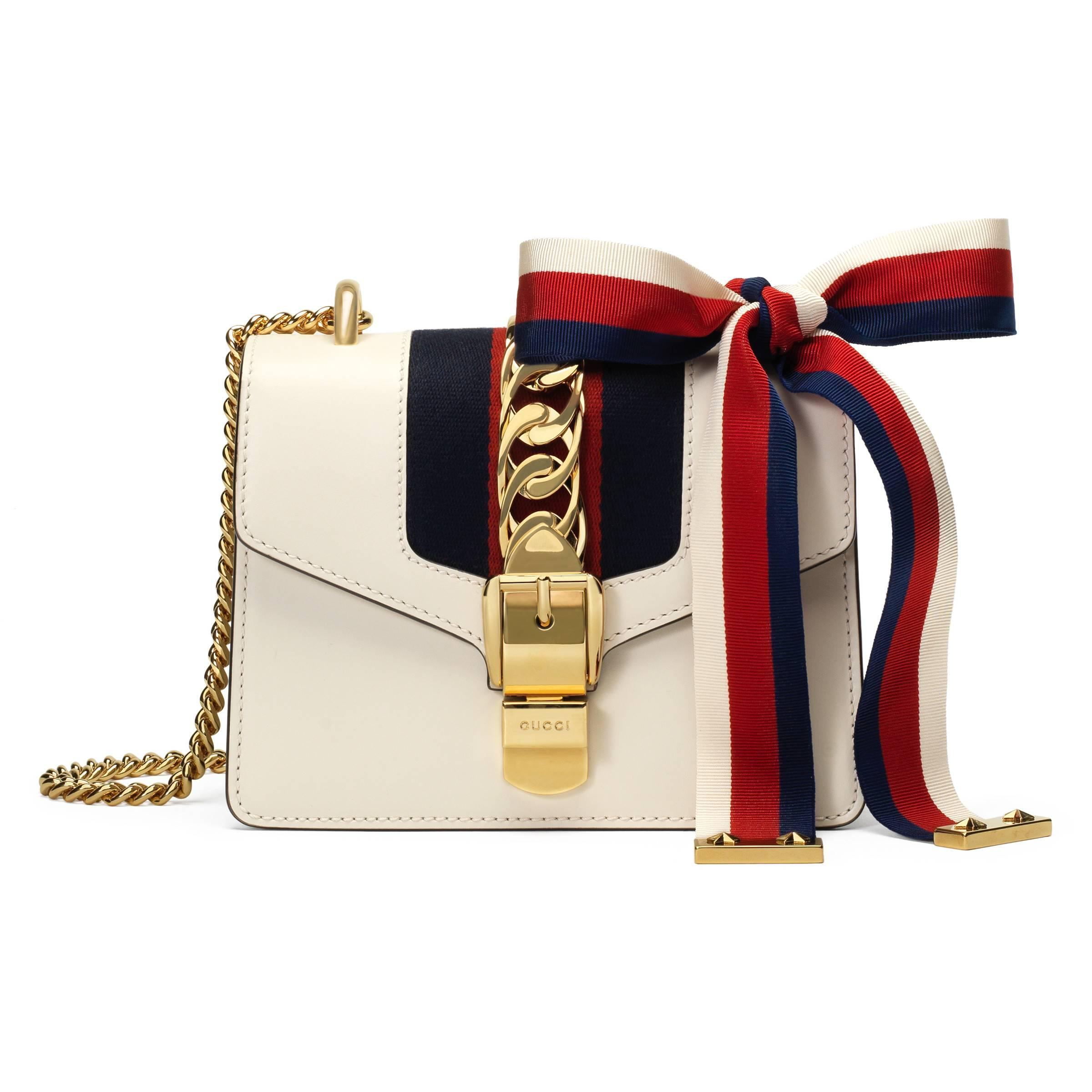d8556b1d8d949a Gucci Sylvie Leather Mini Chain Bag in White - Save 6% - Lyst