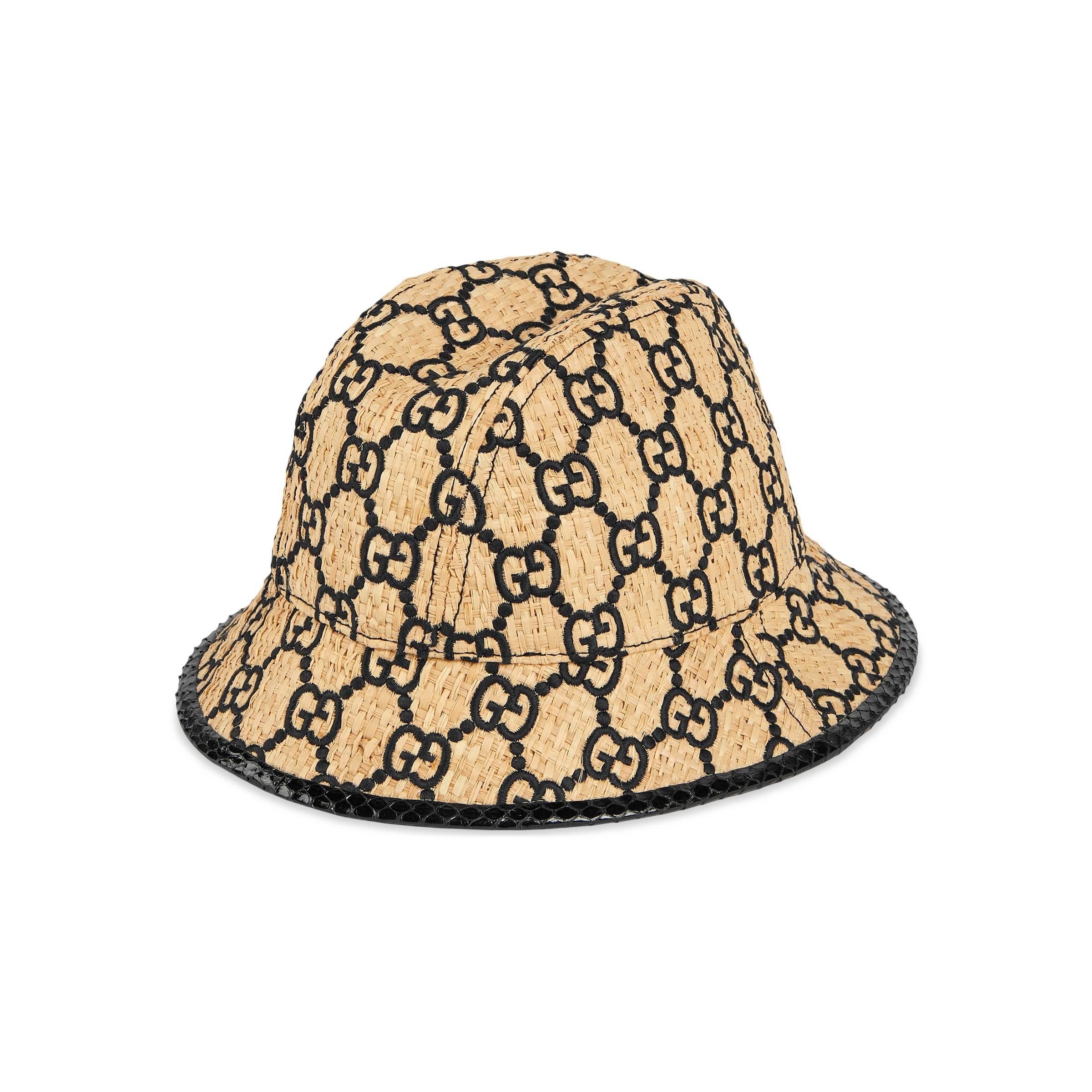 ecef258128 Gucci GG Fedora Hat With Snakeskin in Natural for Men - Lyst