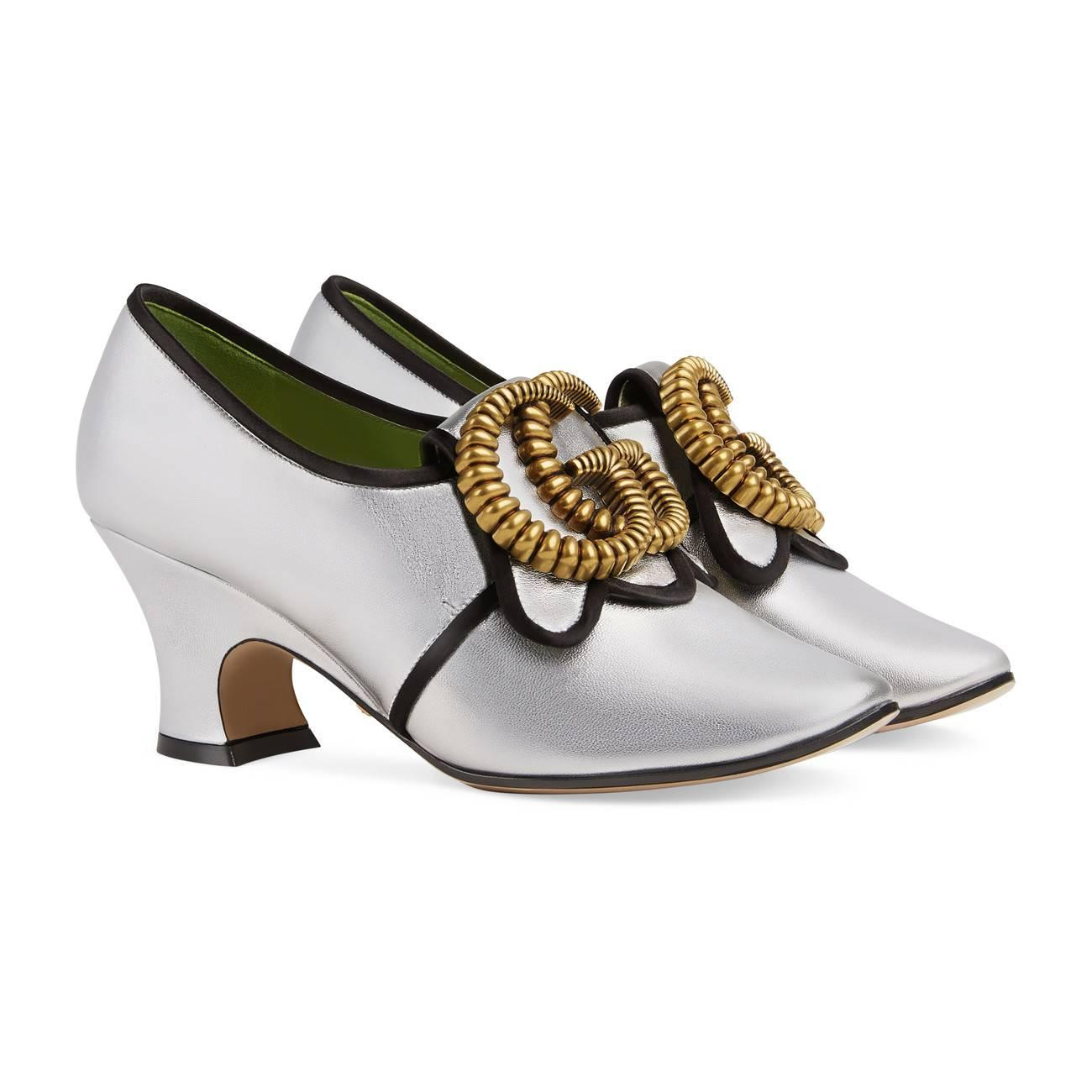 df28b41930c Gucci - Metallic Leather Mid-heel Pump With Double G - Lyst. View fullscreen