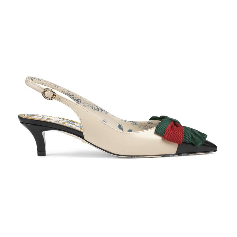 cda53cc998c Lyst - Gucci Leather Sling-back Pump With Web Bow in White