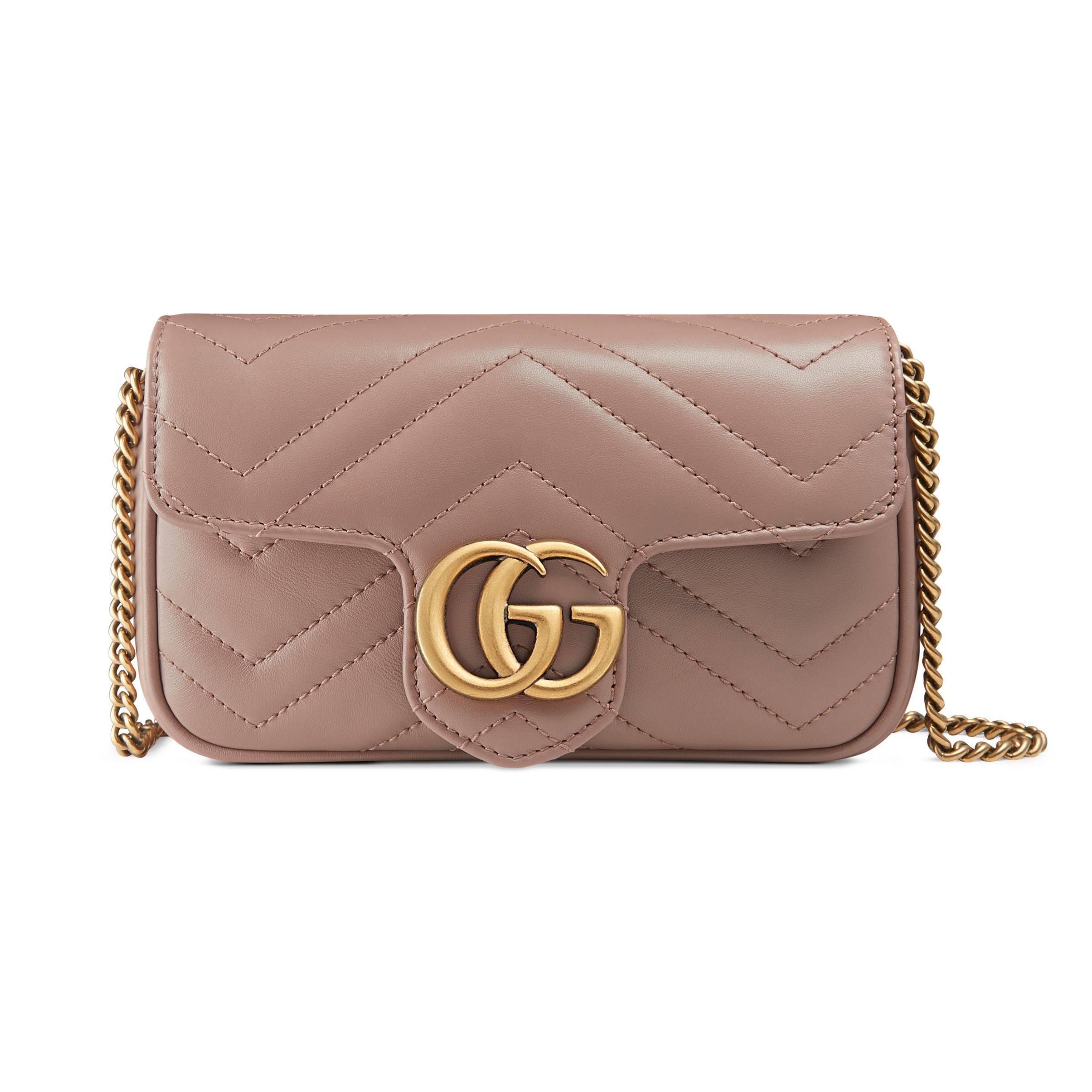 039fe578848 Gucci Gg Marmont Matelassé Leather Super Mini Bag in Pink - Lyst