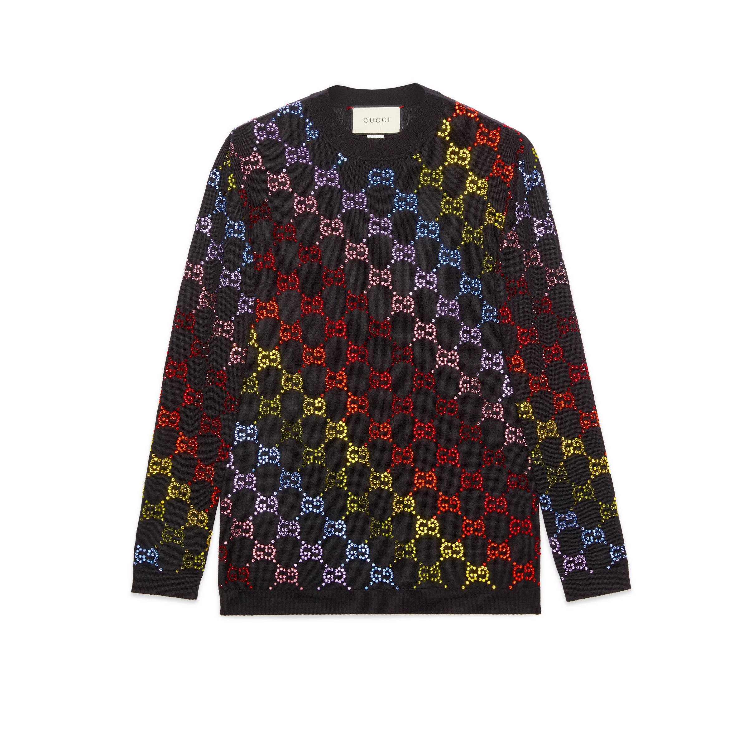 e17d68f7b7 Gucci Wool Sweater With GG Rhinestone Motif in Black - Lyst