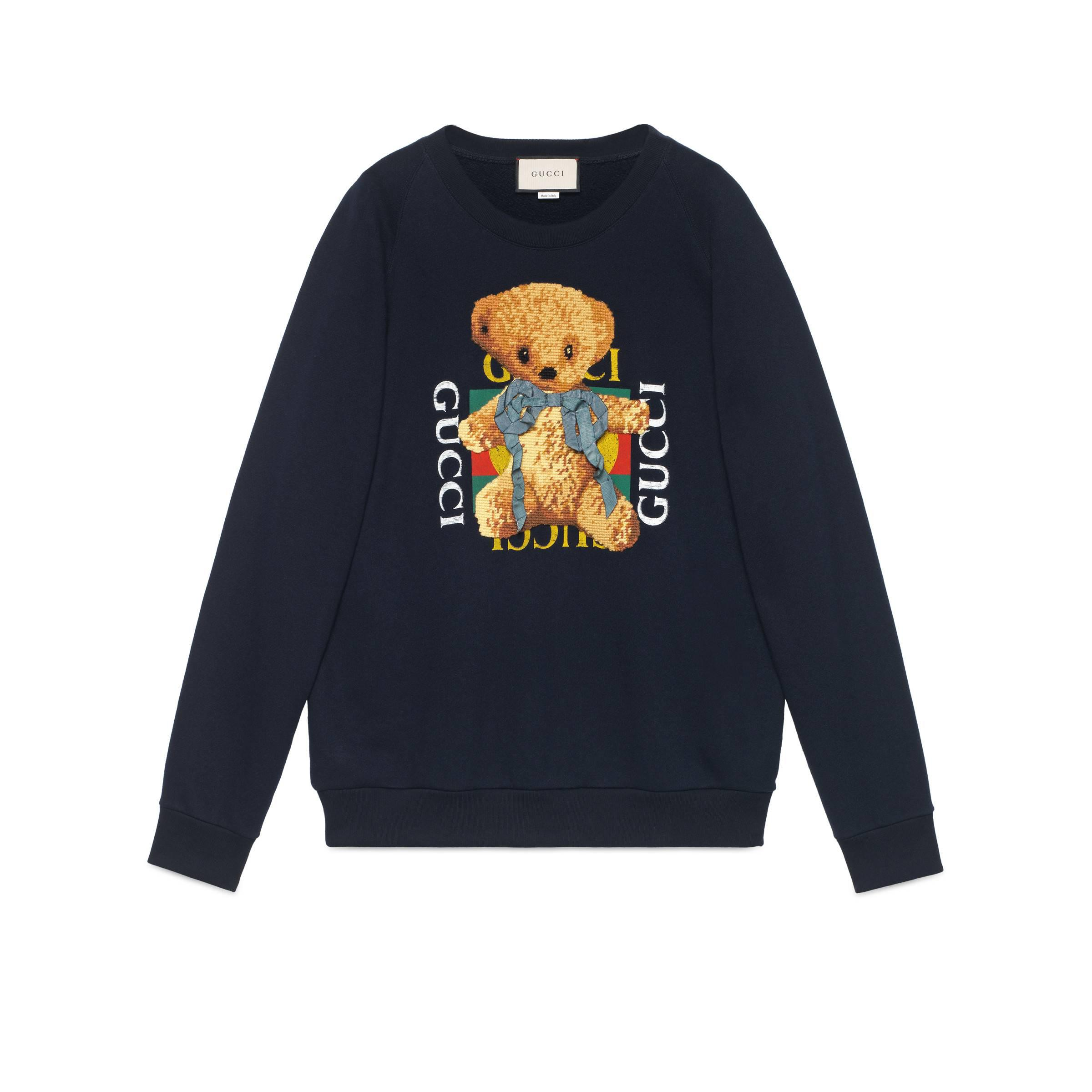 8f3d025f9d3 Lyst - Gucci Oversize Sweatshirt With Logo And Teddy Bear in Blue