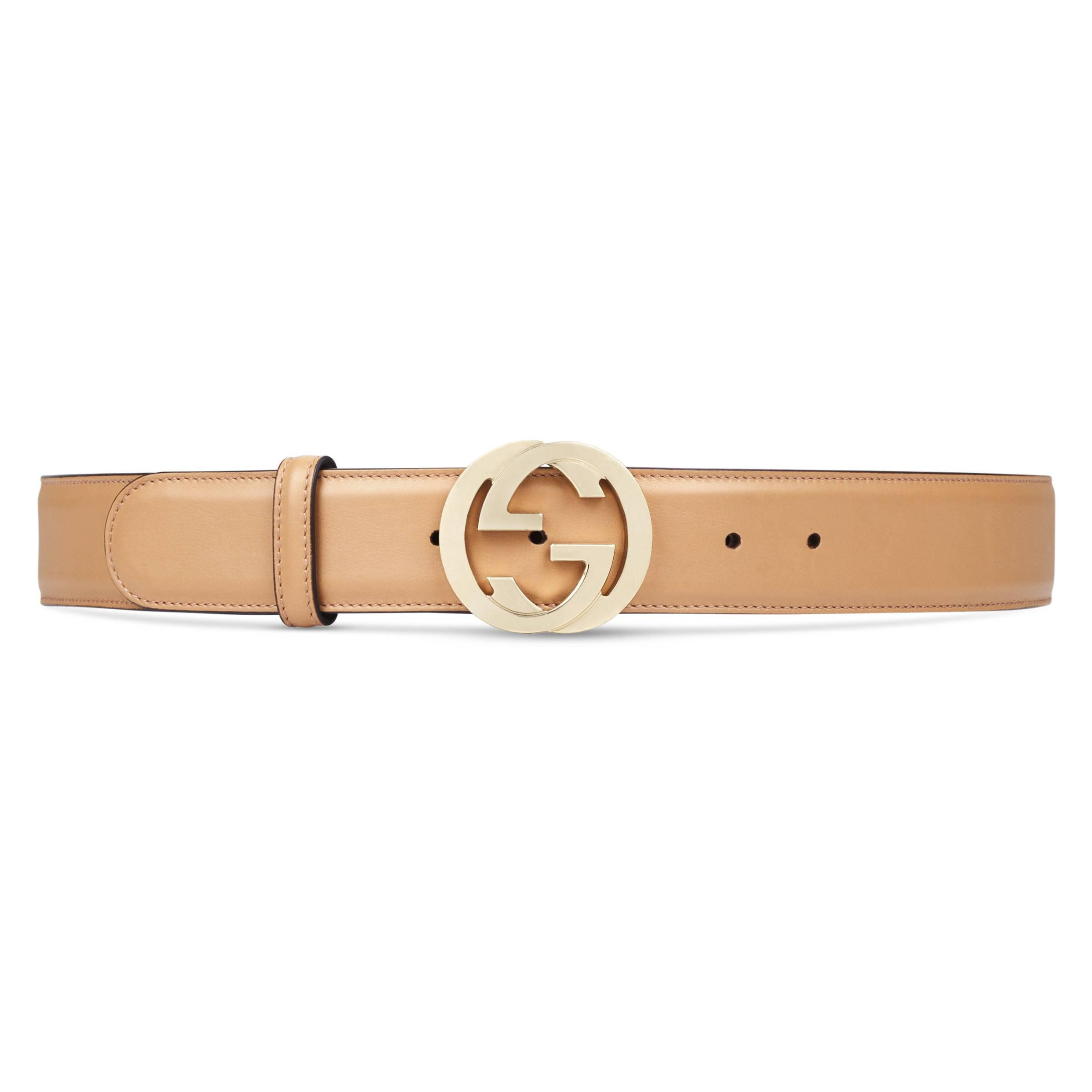 273ab06e141 Gucci Leather Belt With Interlocking G Buckle in Natural - Save 35 ...