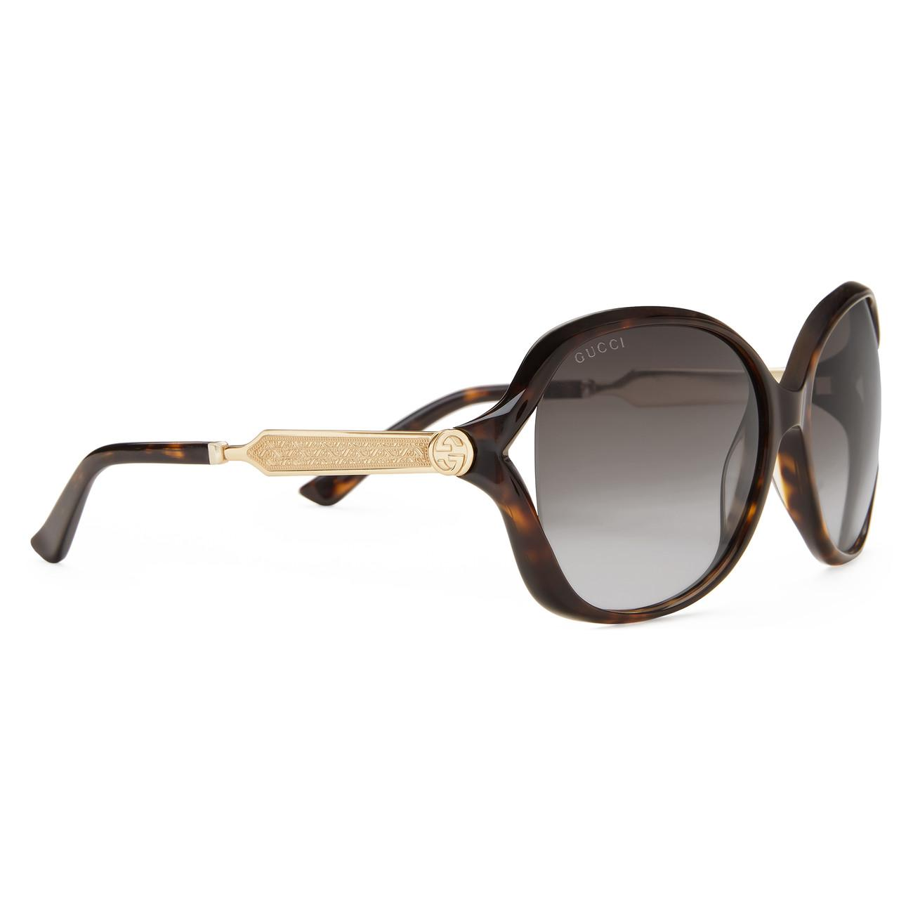 829eac98293 Gucci - Brown Oversize Round-frame Acetate And Metal Sunglasses - Lyst.  View fullscreen