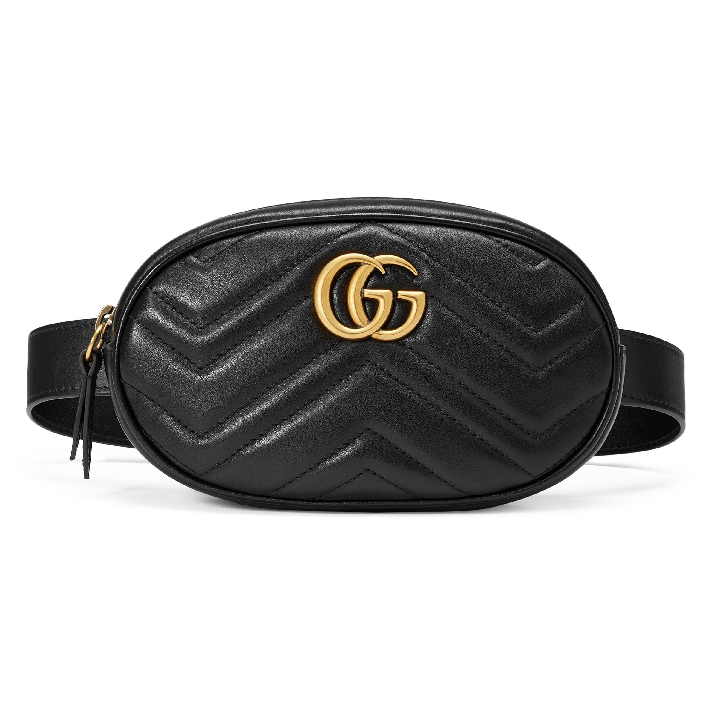 46bc0241a888 Gucci - Black Gg Marmont Matelassé Leather Belt Bag - Lyst. View fullscreen