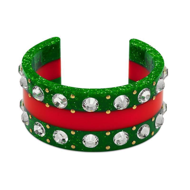 Gucci Web crystal-embellished cuff mfarn