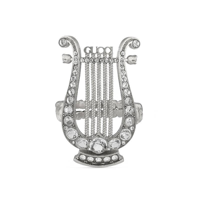 Gucci Crystal lyre ring in metal Nk5yJ