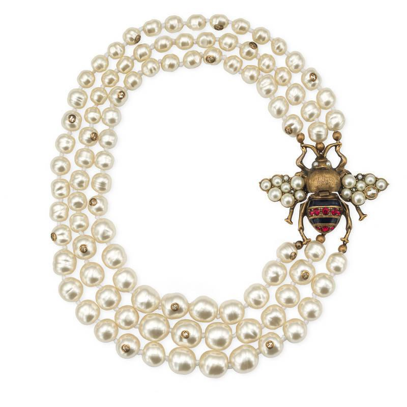 Gucci Bee necklace with crystals and pearls KQ9ZULg