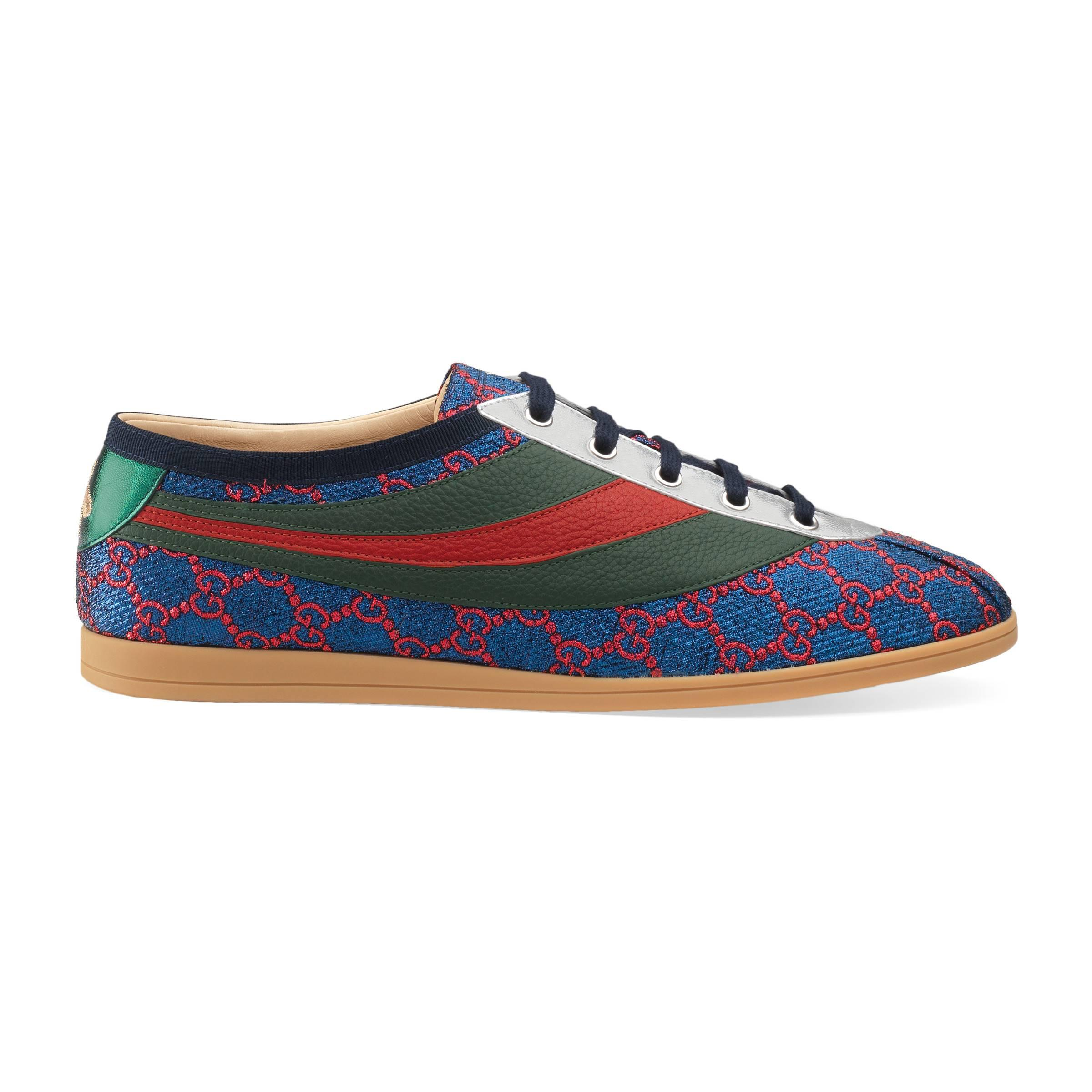 0f2f31f4402 Gucci Falacer Lurex Gg Sneaker With Web in Blue for Men - Lyst