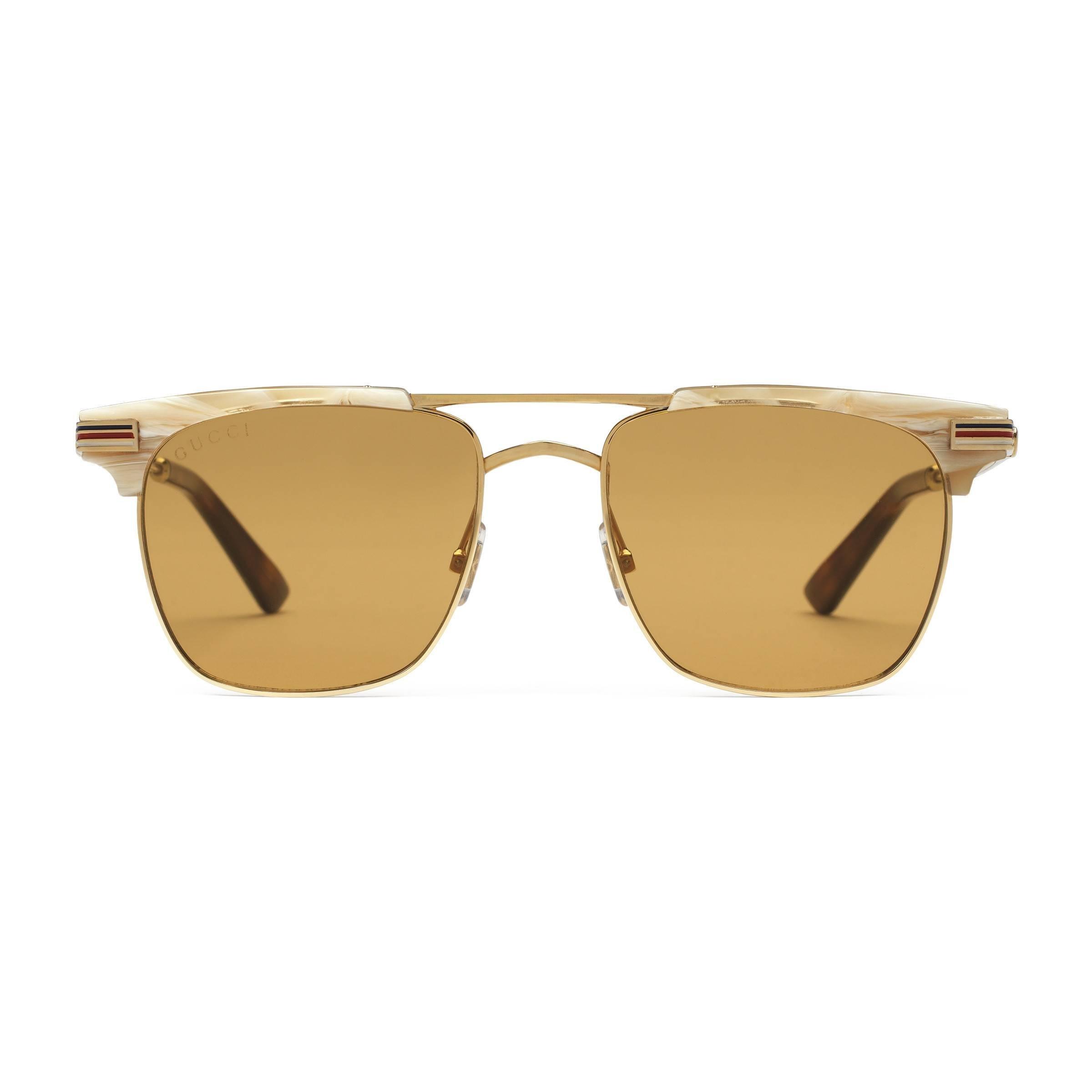 09fad76147 Gafas de sol cuadradas de metal Gucci de hombre de color Marrón - Lyst