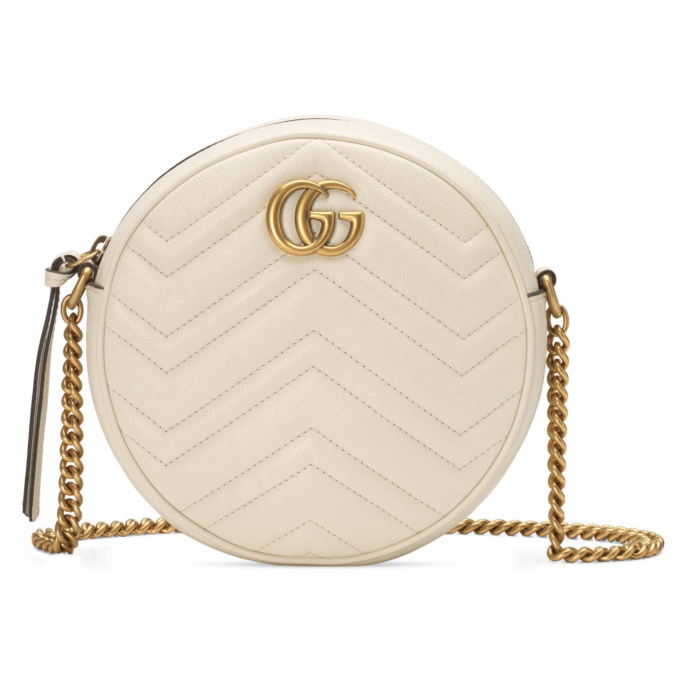5407de8641d2 Gucci GG Marmont Mini Round Shoulder Bag in White - Lyst
