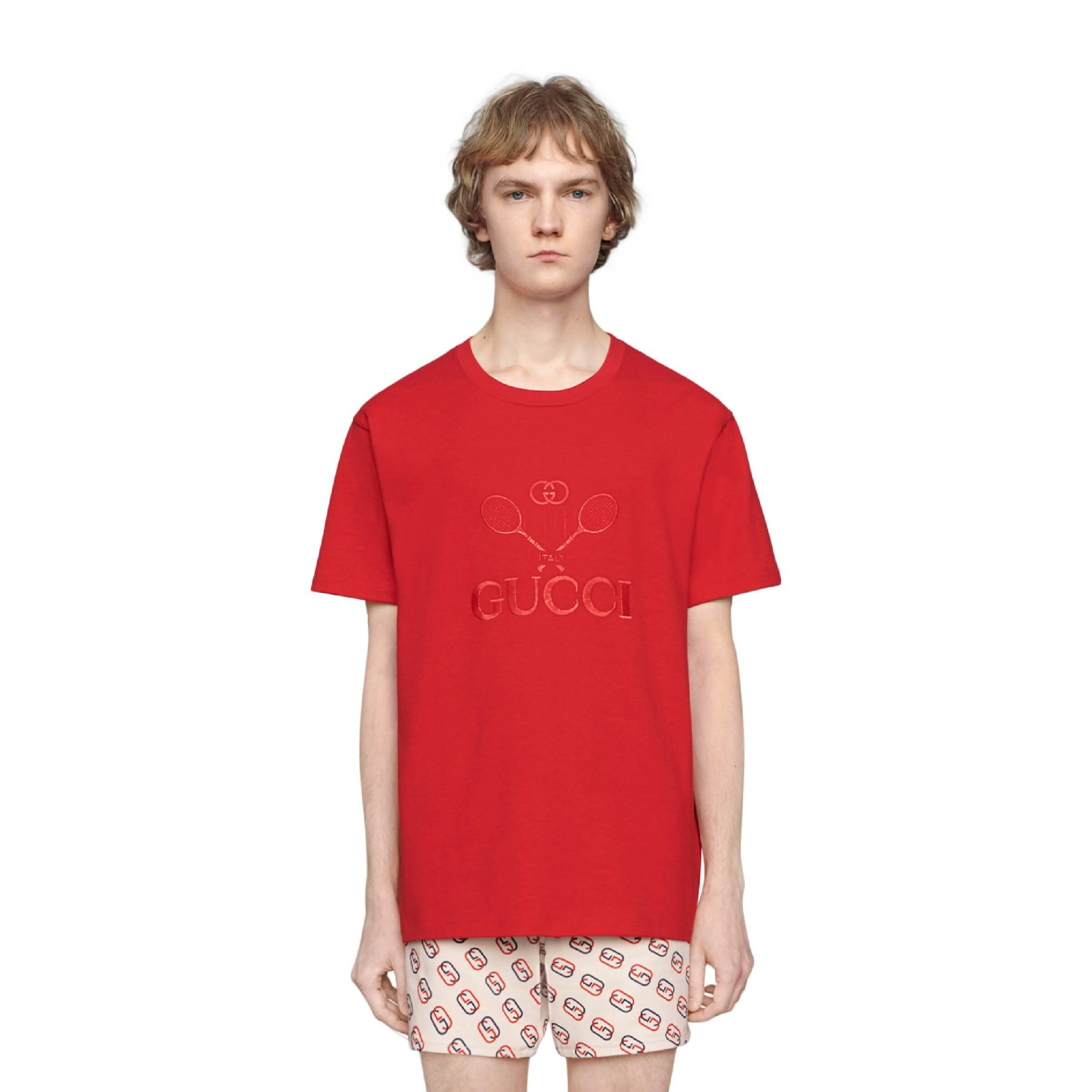 fc95d913479752 Gucci Oversize T-shirt With Tennis in Red for Men - Lyst