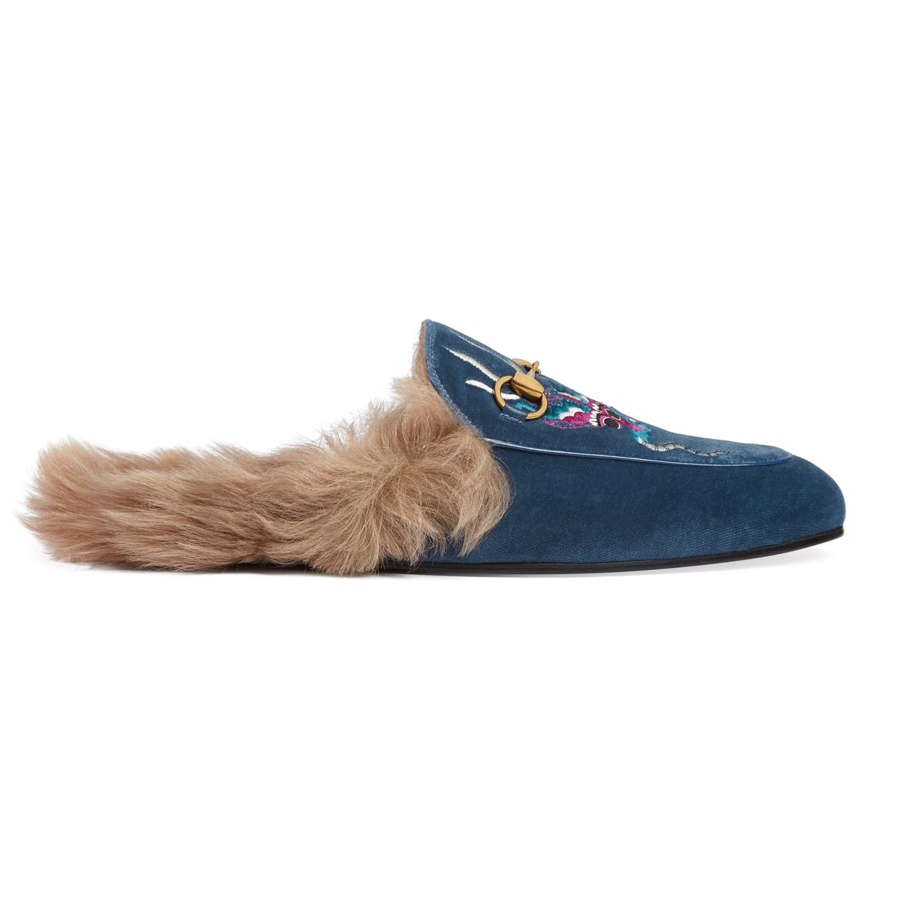 11a9c6d6f Gucci Princetown Velvet Embroidered Slipper in Blue for Men - Lyst