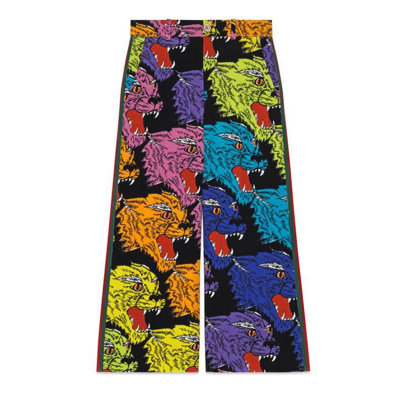 Panther face viscose culotte pant - Multicolour Gucci Pgg5J