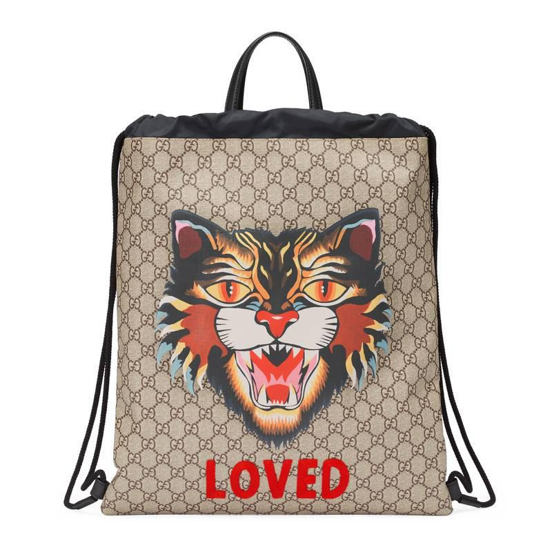 f47506ad8fe0 Gucci Angry Cat Print Soft Gg Supreme Drawstring Backpack for Men - Lyst