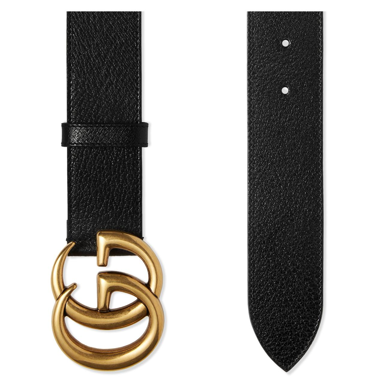 ae2e3052b35 Gucci - Black Leather Belt With Double G Buckle for Men - Lyst. View  fullscreen
