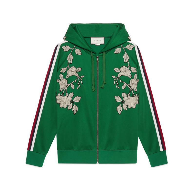 88adb23a498 Lyst - Gucci Embroidered Jersey Sweatshirt in Green
