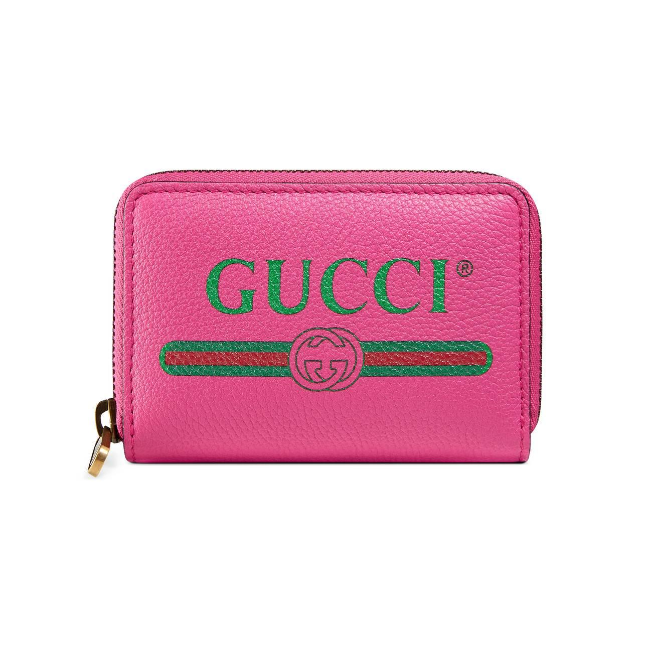 38bba6618d5 Gucci - Pink Print Leather Card Case - Lyst. View fullscreen