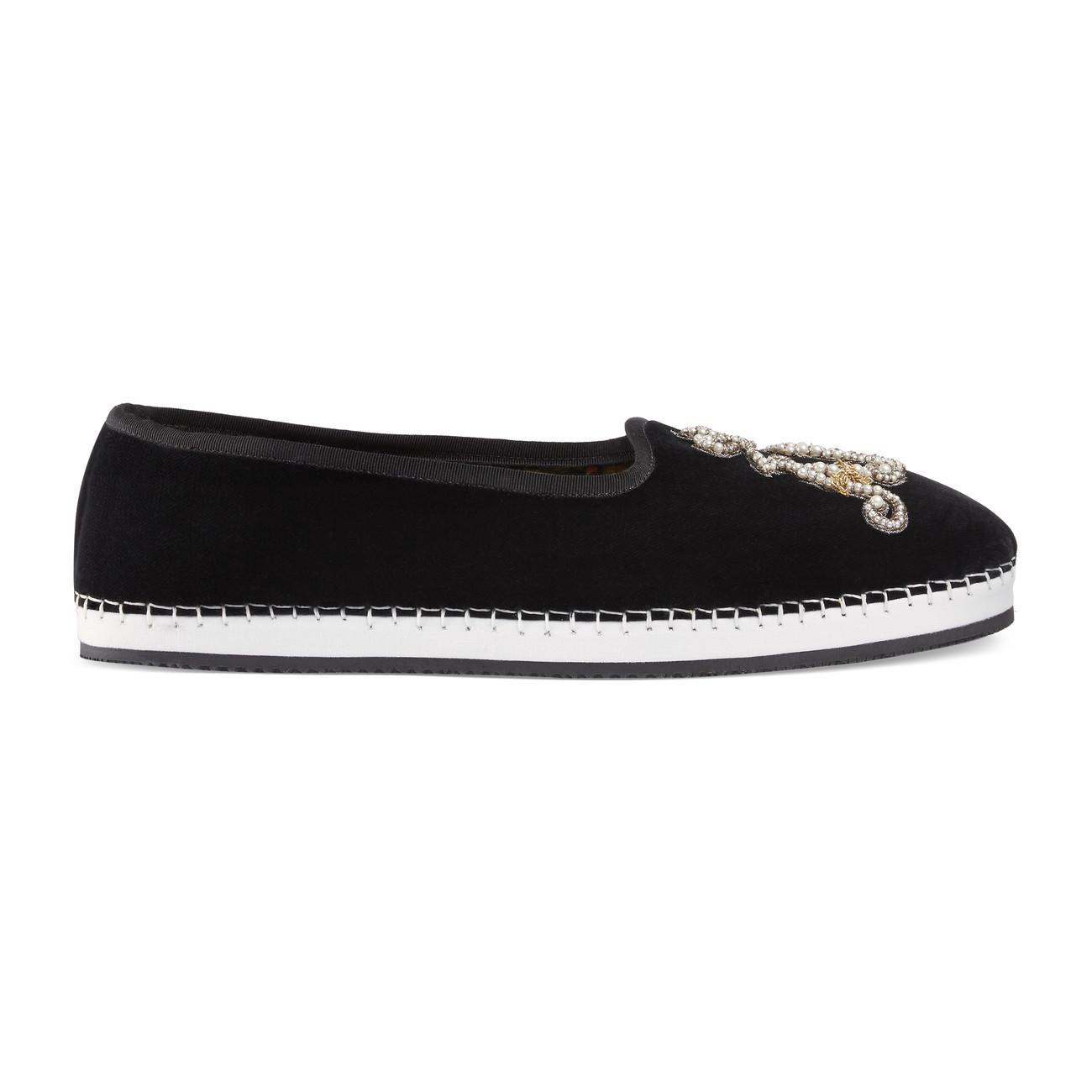 937e6065b Lyst - Gucci Men's Velvet Loafer With Am Appliqué in Black for Men