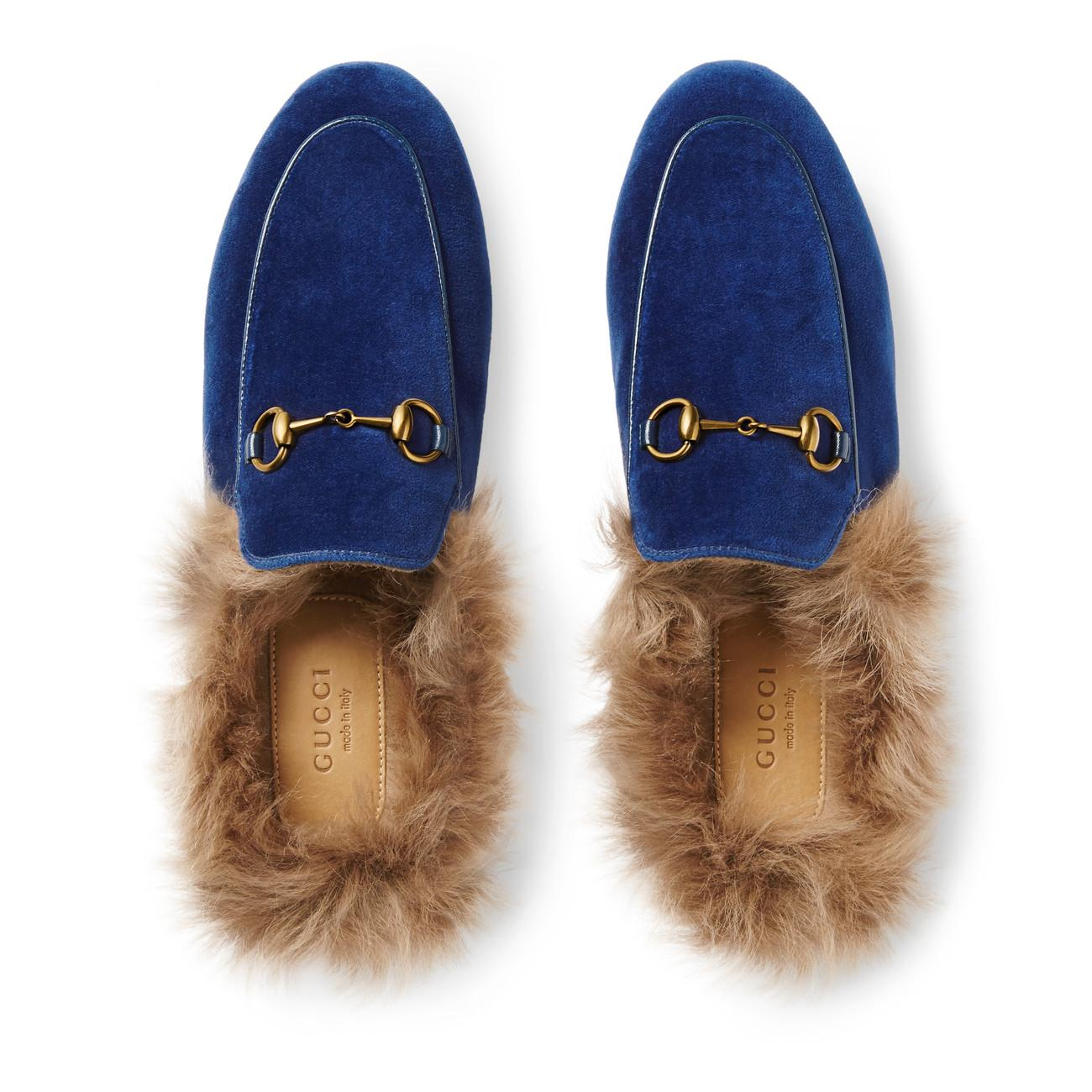 6bd0bff7cb8 Gucci - Blue Princetown Velvet Slipper - Lyst. View fullscreen
